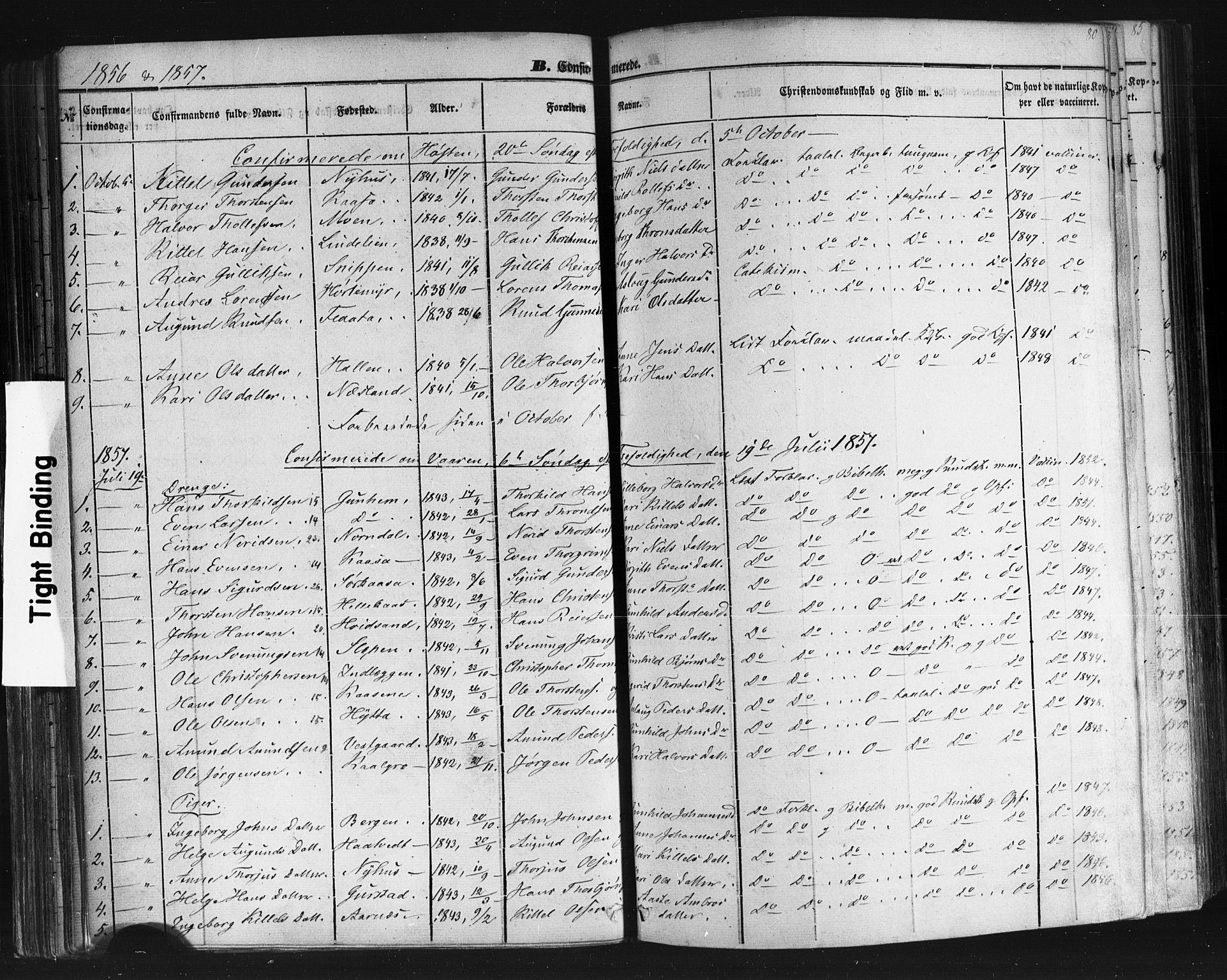 SAKO, Sauherad kirkebøker, F/Fb/L0001: Ministerialbok nr. II 1, 1851-1877, s. 80