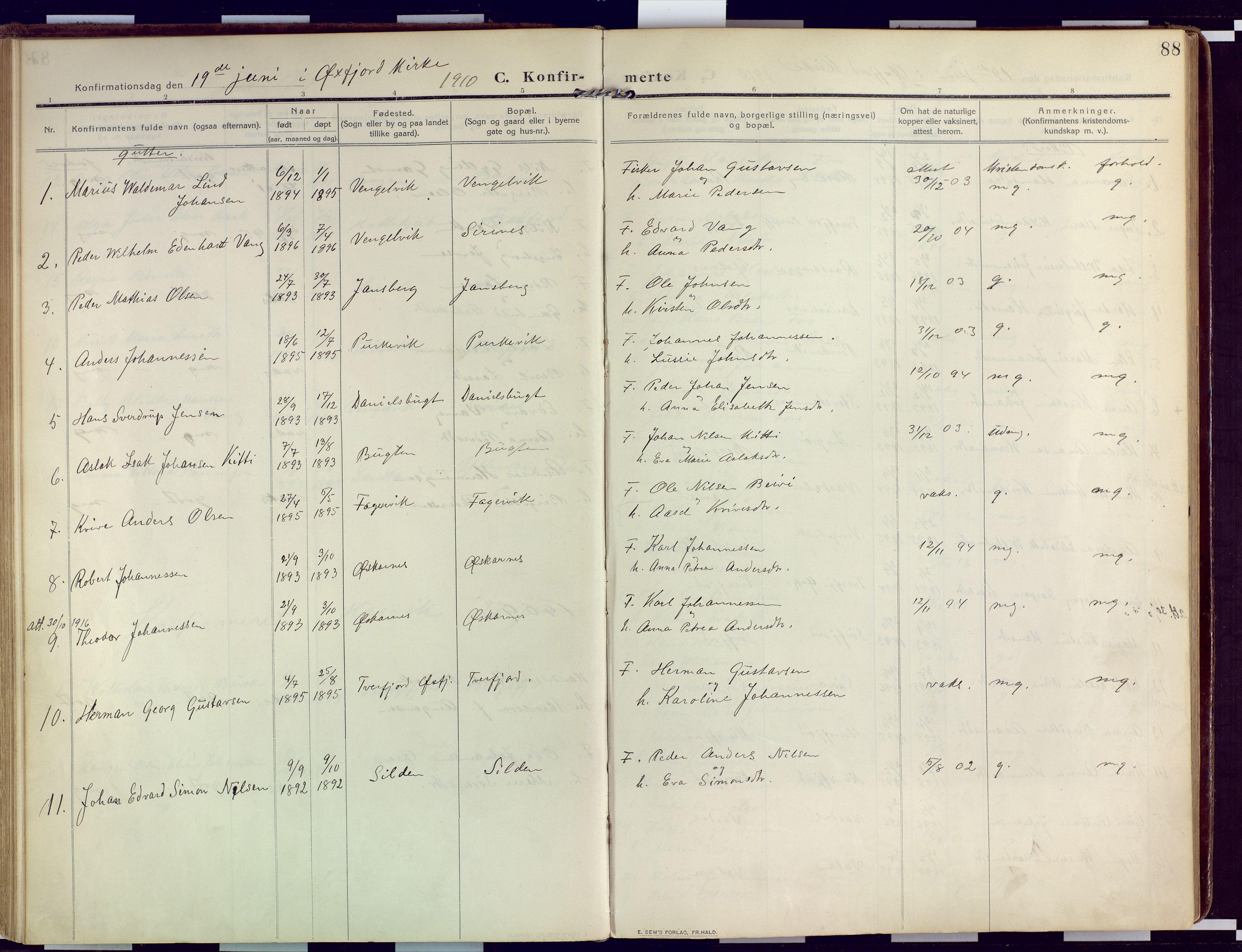 SATØ, Loppa sokneprestkontor, H/Ha/L0011kirke: Ministerialbok nr. 11, 1909-1919, s. 88