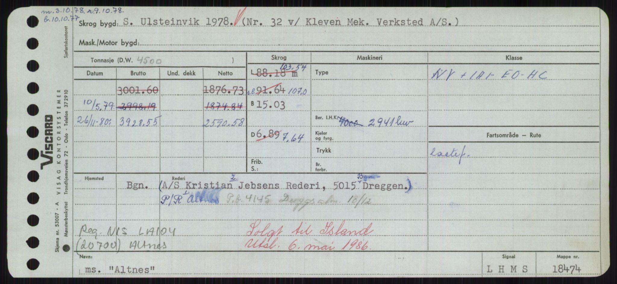 RA, Sjøfartsdirektoratet med forløpere, Skipsmålingen, H/Hd/L0001: Fartøy, A-Anv, s. 427