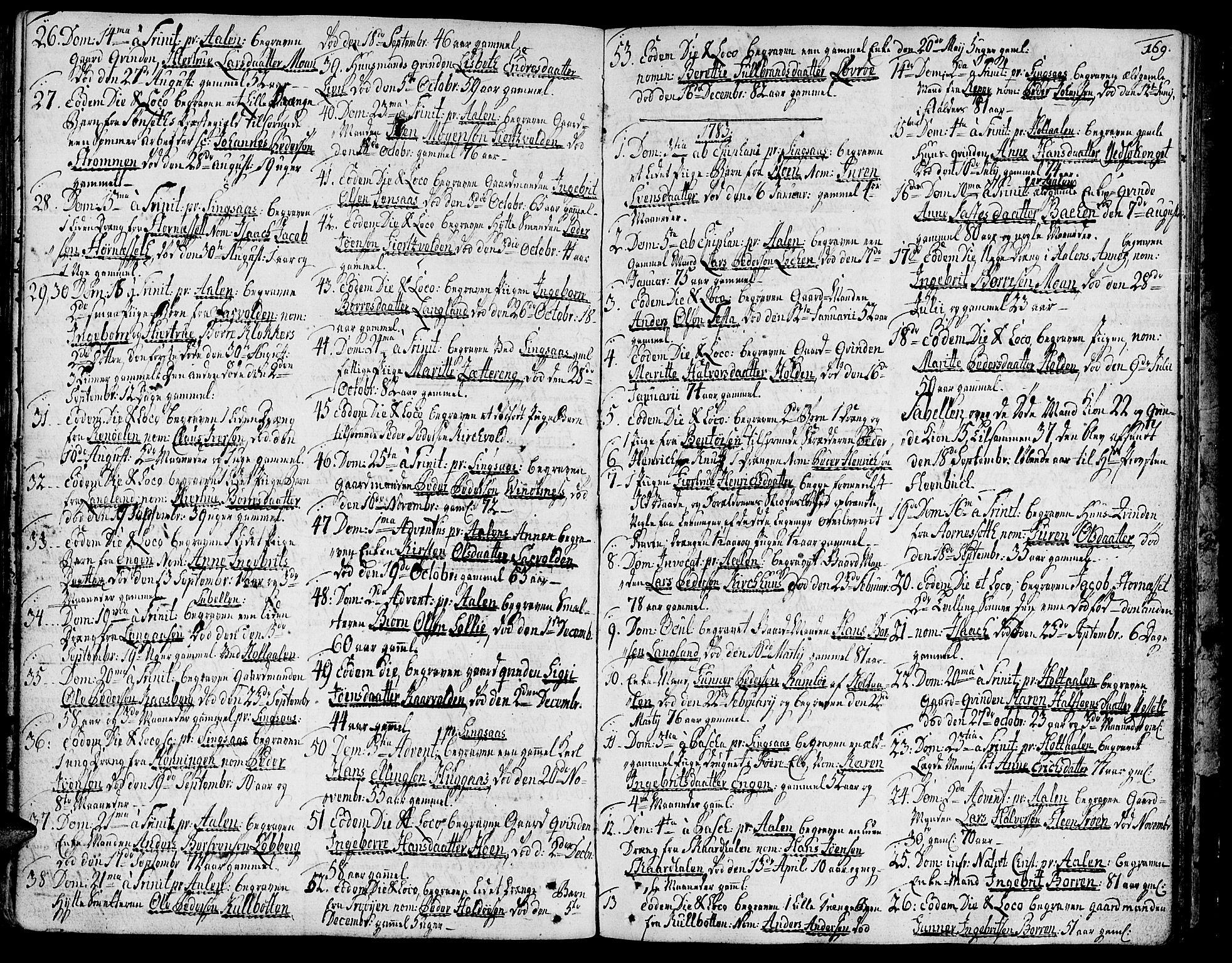 SAT, Ministerialprotokoller, klokkerbøker og fødselsregistre - Sør-Trøndelag, 685/L0952: Ministerialbok nr. 685A01, 1745-1804, s. 169