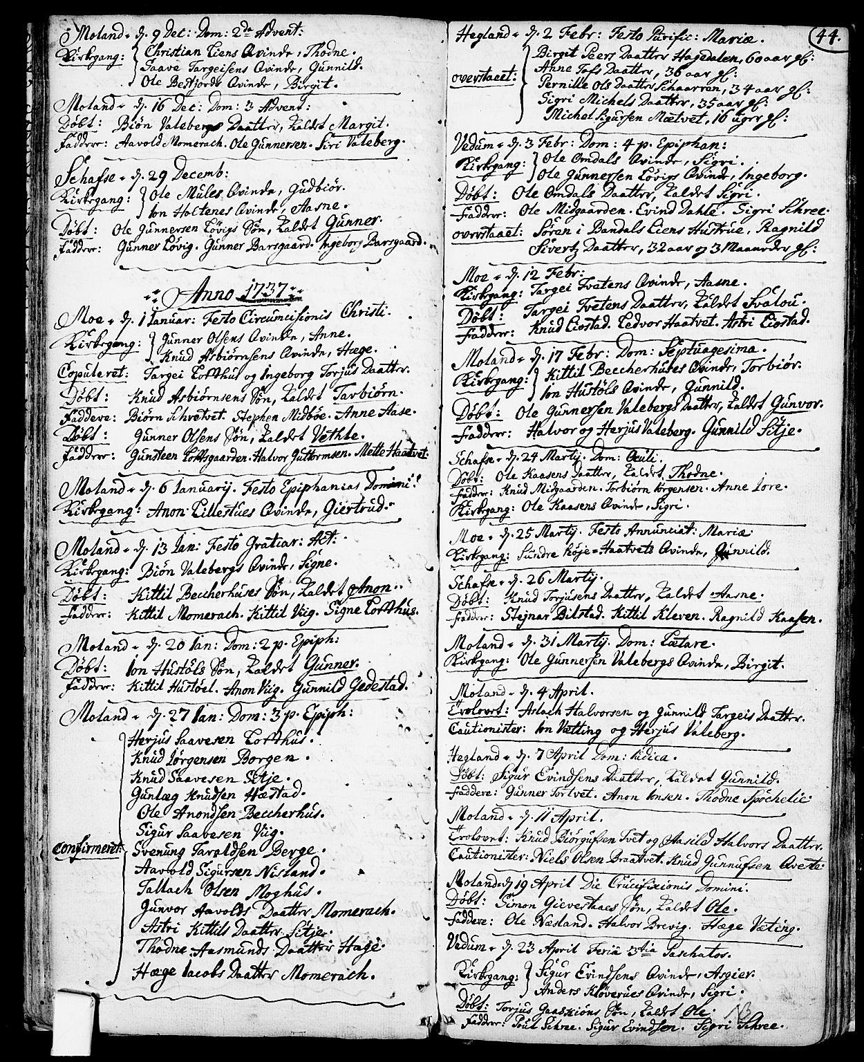 SAKO, Fyresdal kirkebøker, F/Fa/L0001: Ministerialbok nr. I 1, 1724-1748, s. 44