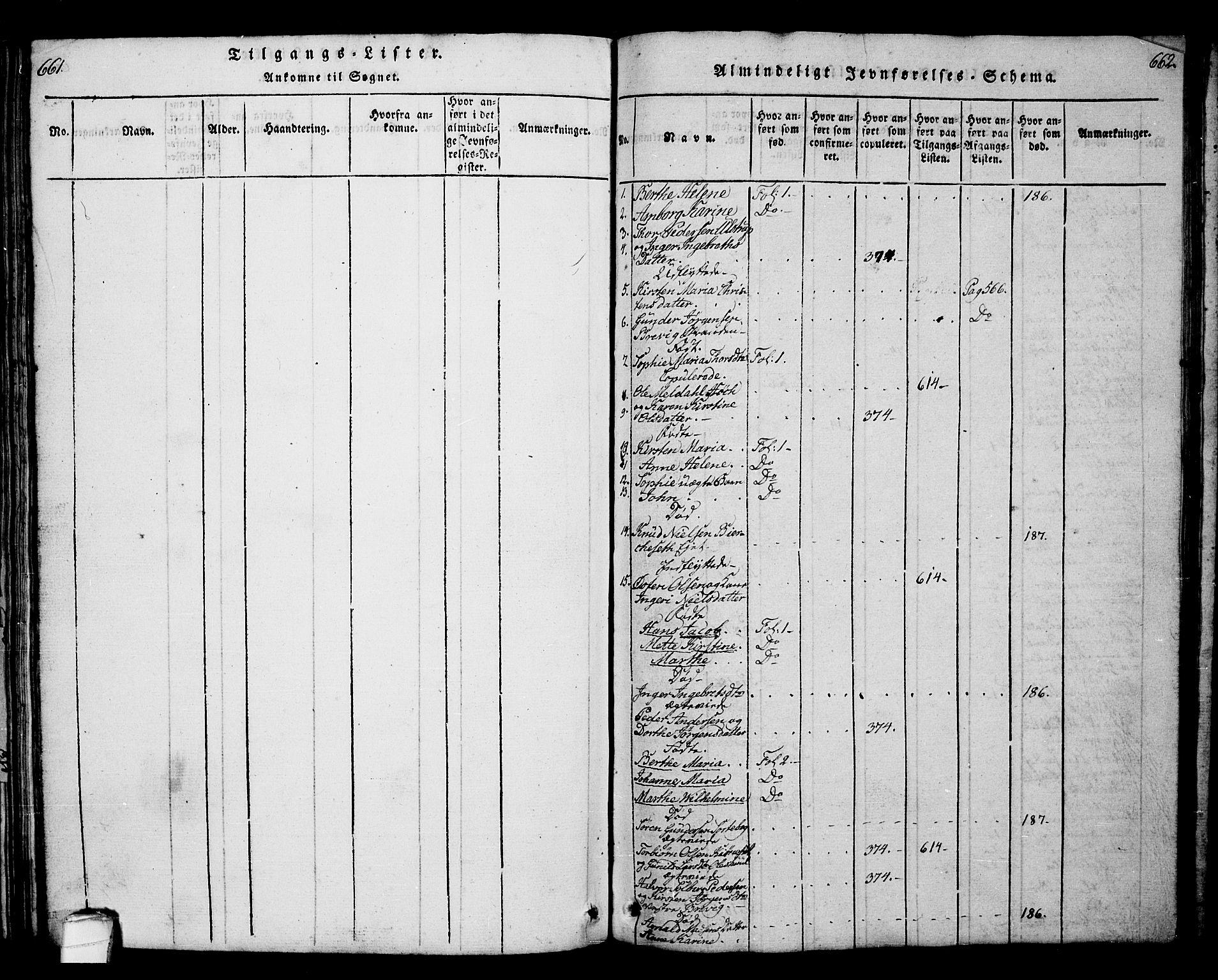 SAKO, Bamble kirkebøker, G/Ga/L0005: Klokkerbok nr. I 5, 1814-1855, s. 661-662