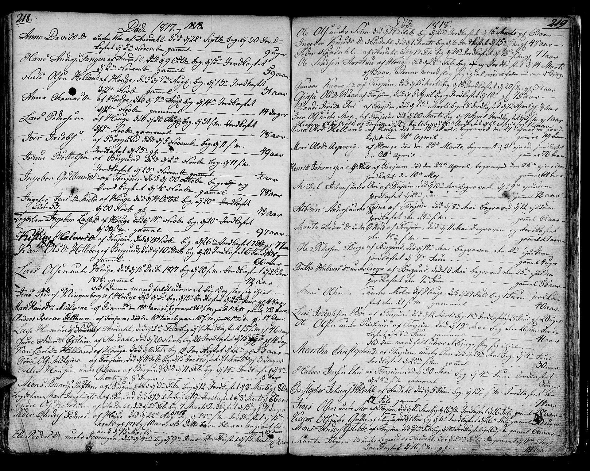 SAB, Lærdal sokneprestembete, Ministerialbok nr. A 4, 1805-1821, s. 218-219