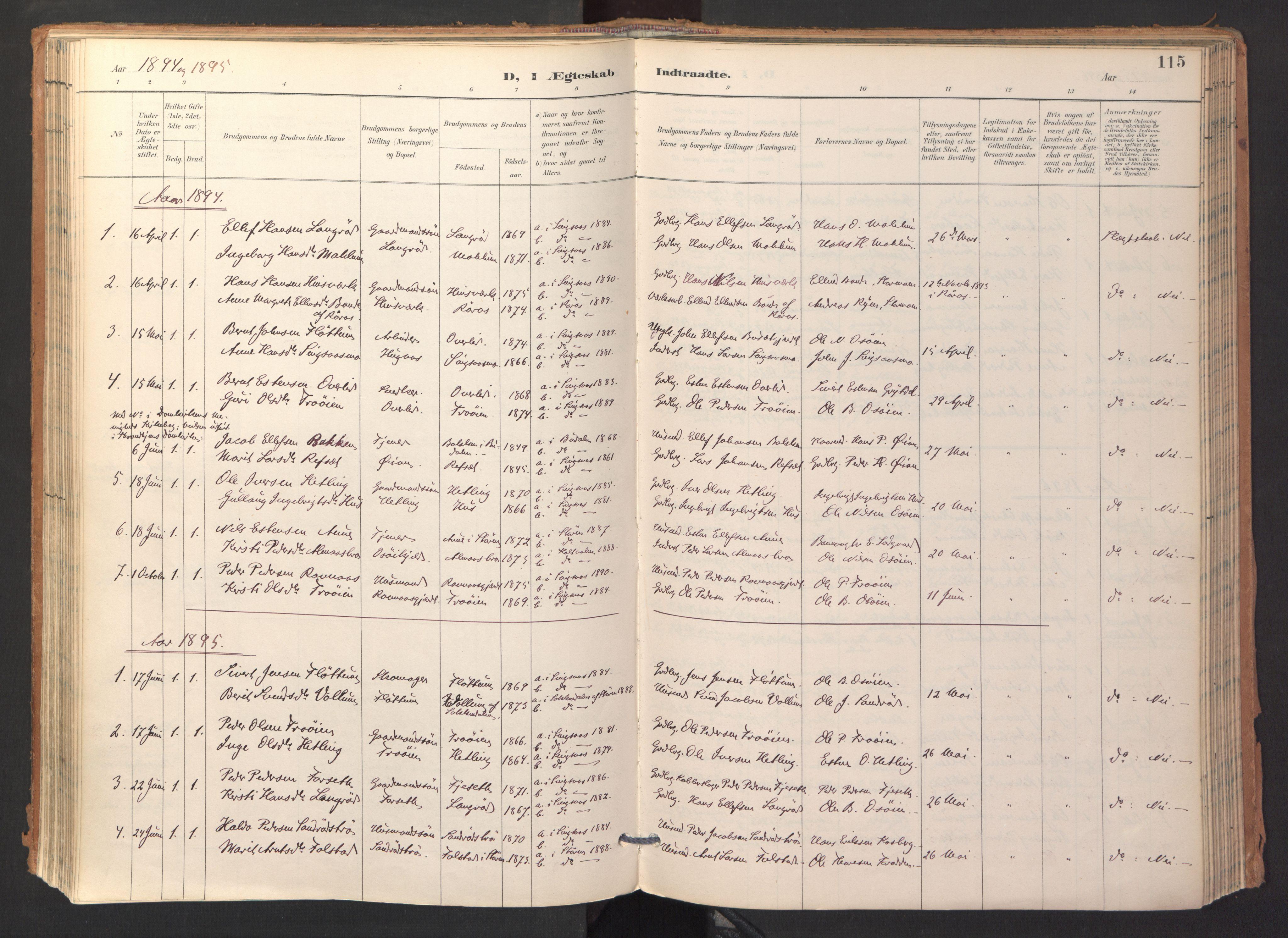 SAT, Ministerialprotokoller, klokkerbøker og fødselsregistre - Sør-Trøndelag, 688/L1025: Ministerialbok nr. 688A02, 1891-1909, s. 115