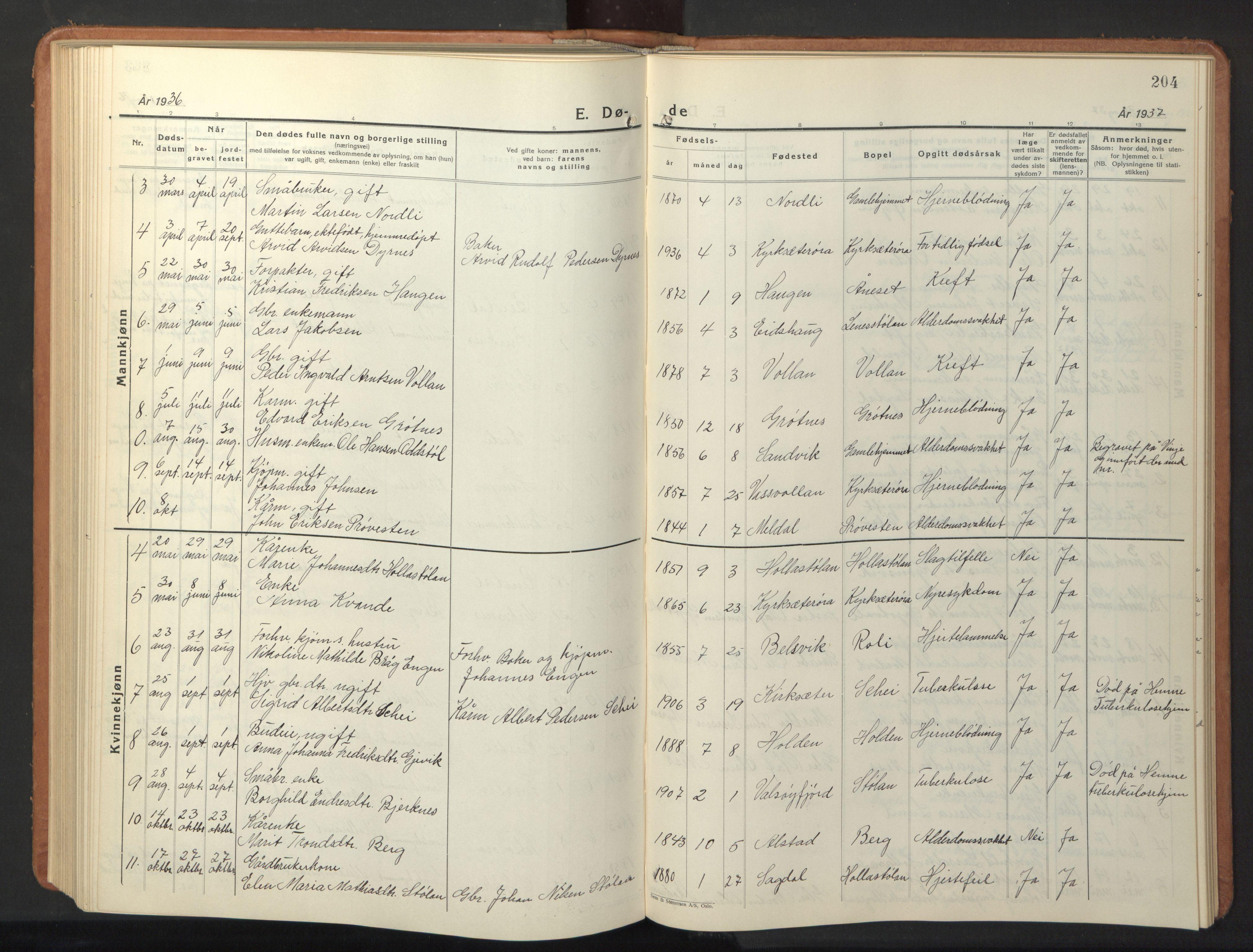 SAT, Ministerialprotokoller, klokkerbøker og fødselsregistre - Sør-Trøndelag, 630/L0508: Klokkerbok nr. 630C06, 1933-1950, s. 204