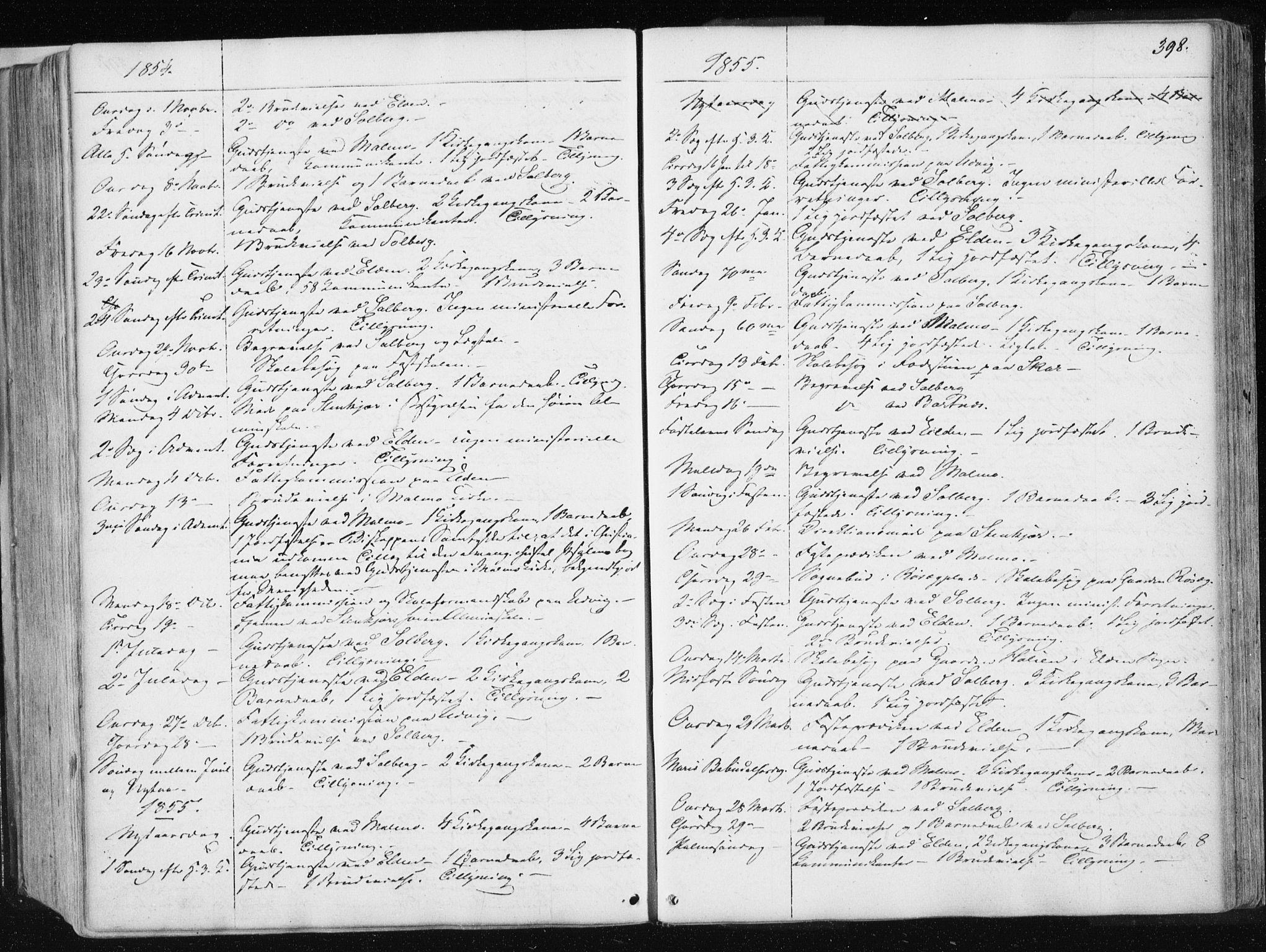SAT, Ministerialprotokoller, klokkerbøker og fødselsregistre - Nord-Trøndelag, 741/L0393: Ministerialbok nr. 741A07, 1849-1863, s. 398