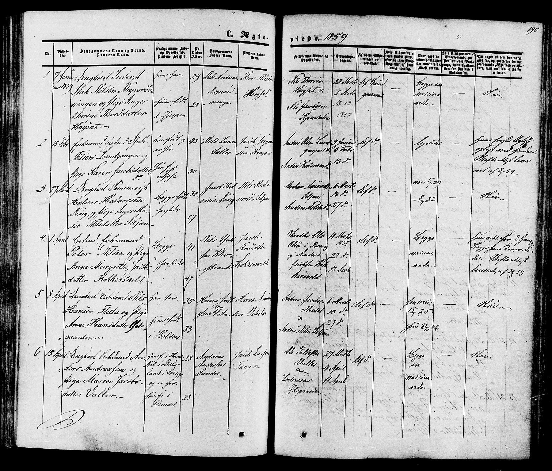 SAKO, Eidanger kirkebøker, F/Fa/L0010: Ministerialbok nr. 10, 1859-1874, s. 190