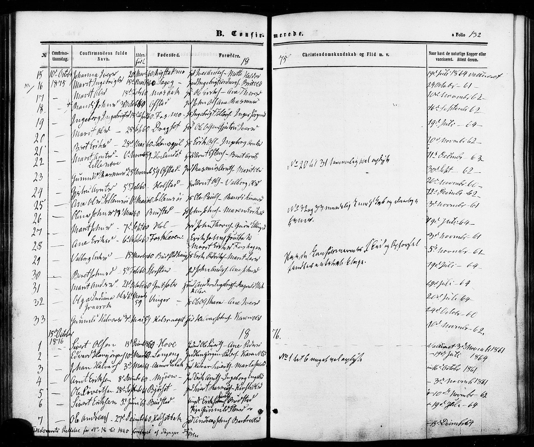 SAT, Ministerialprotokoller, klokkerbøker og fødselsregistre - Sør-Trøndelag, 672/L0856: Ministerialbok nr. 672A08, 1861-1881, s. 132