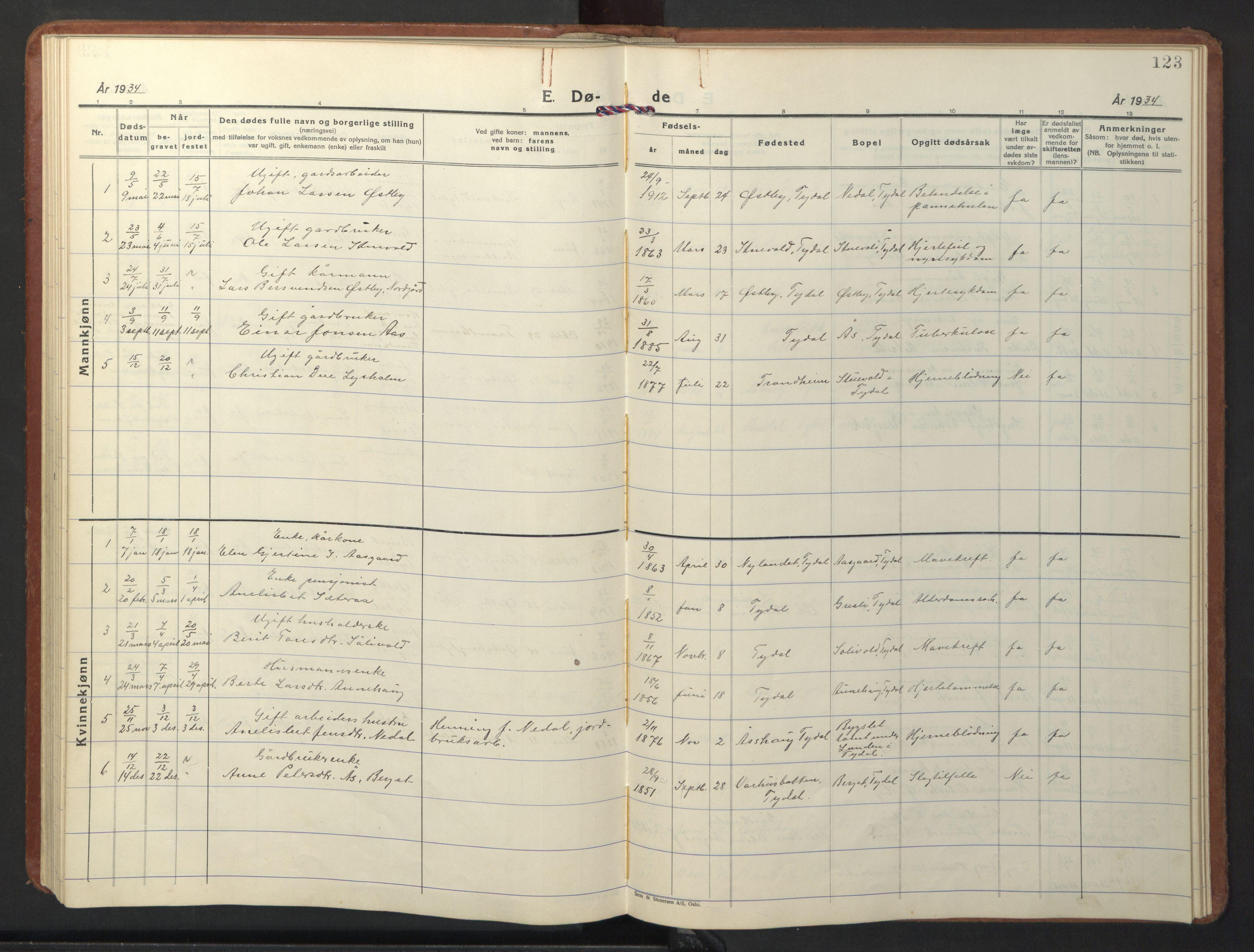 SAT, Ministerialprotokoller, klokkerbøker og fødselsregistre - Sør-Trøndelag, 698/L1169: Klokkerbok nr. 698C06, 1930-1949, s. 123