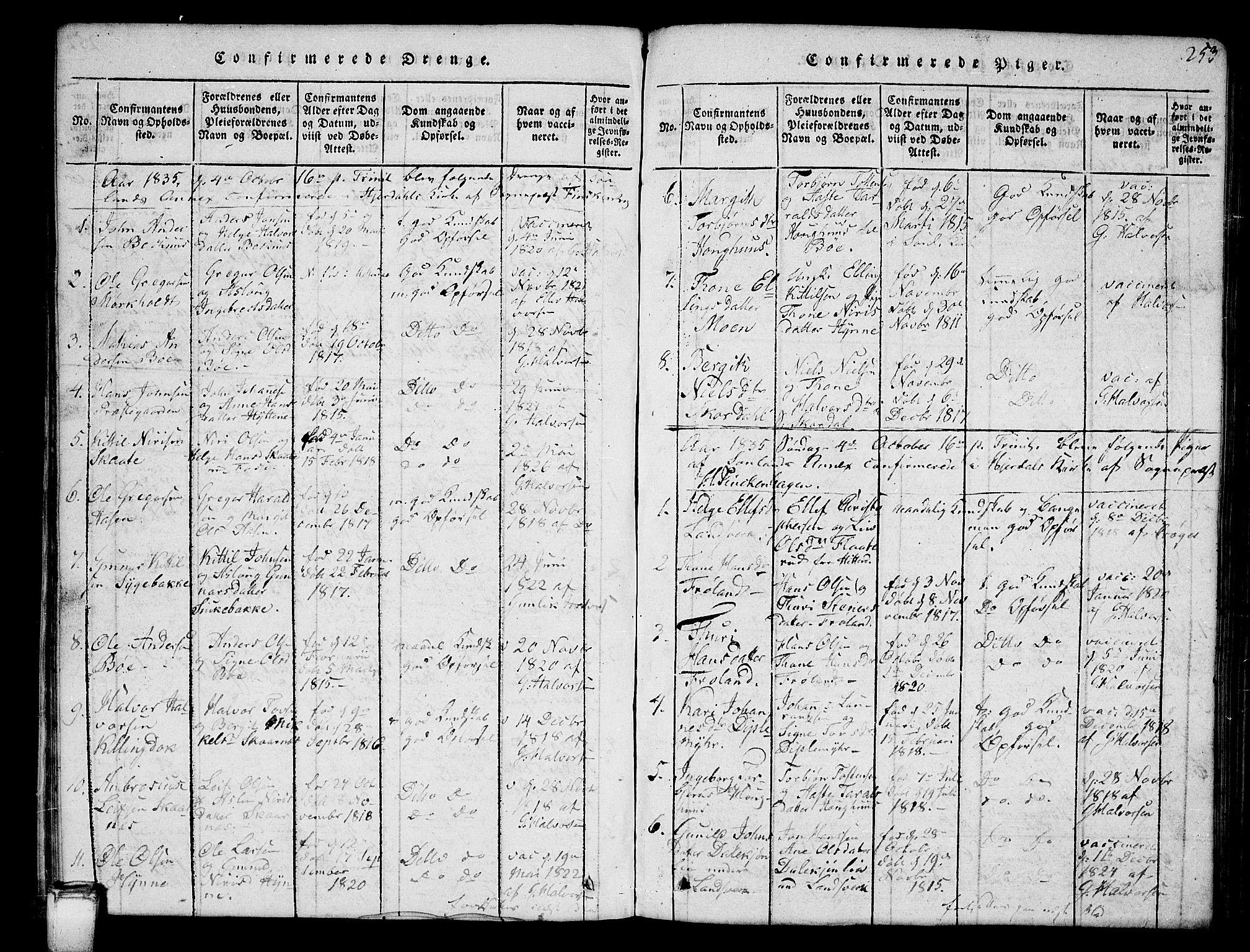 SAKO, Hjartdal kirkebøker, G/Gb/L0001: Klokkerbok nr. II 1, 1815-1842, s. 253