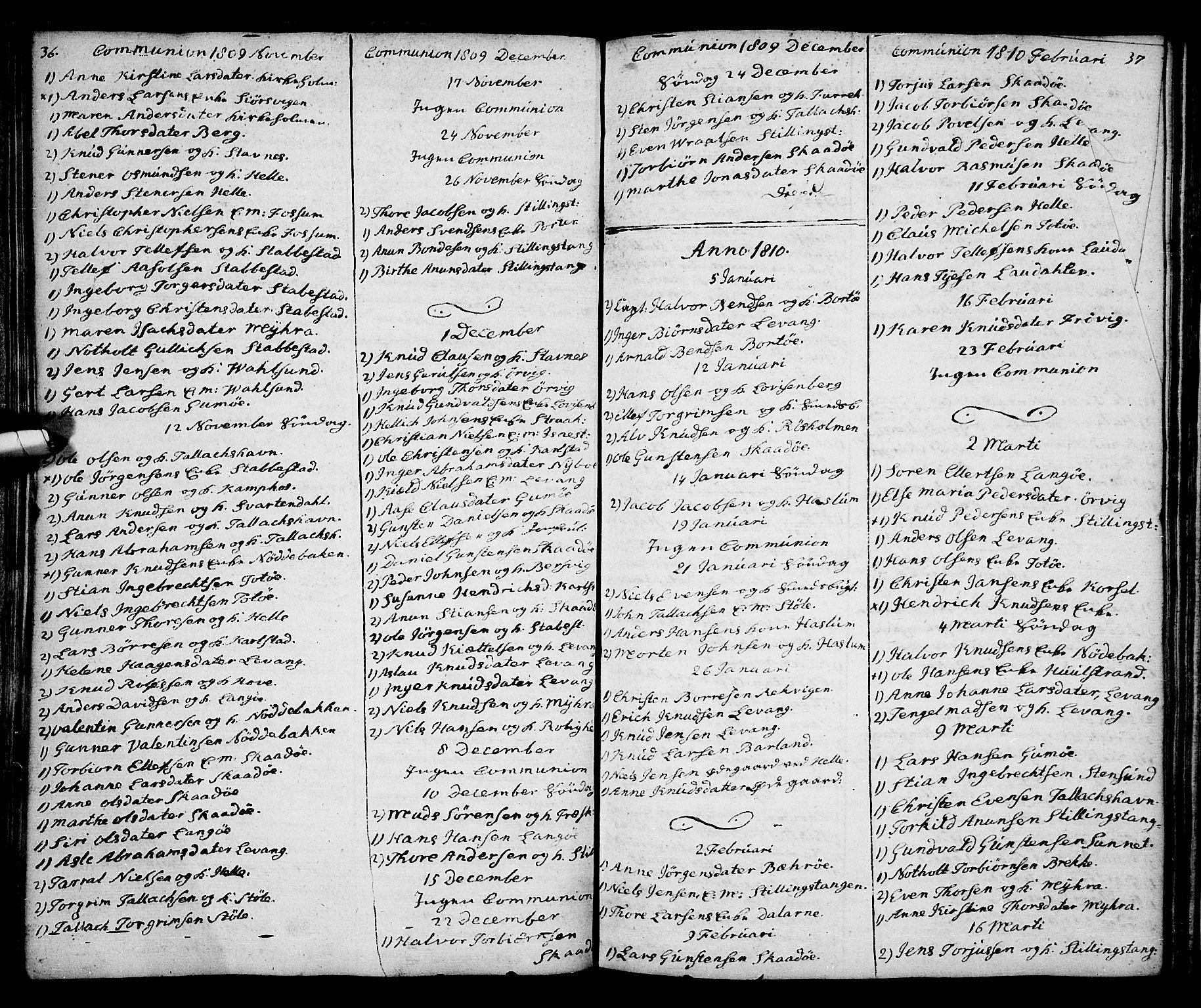 SAKO, Kragerø kirkebøker, G/Ga/L0001: Klokkerbok nr. 1 /2, 1806-1811, s. 36-37