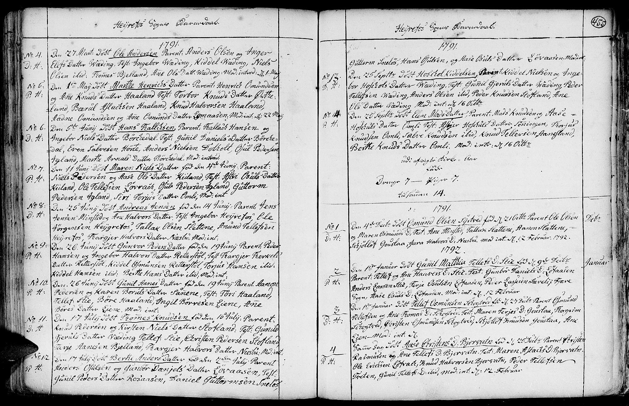 SAK, Hommedal sokneprestkontor, F/Fa/Fab/L0002: Ministerialbok nr. A 2 /3, 1740-1821, s. 455
