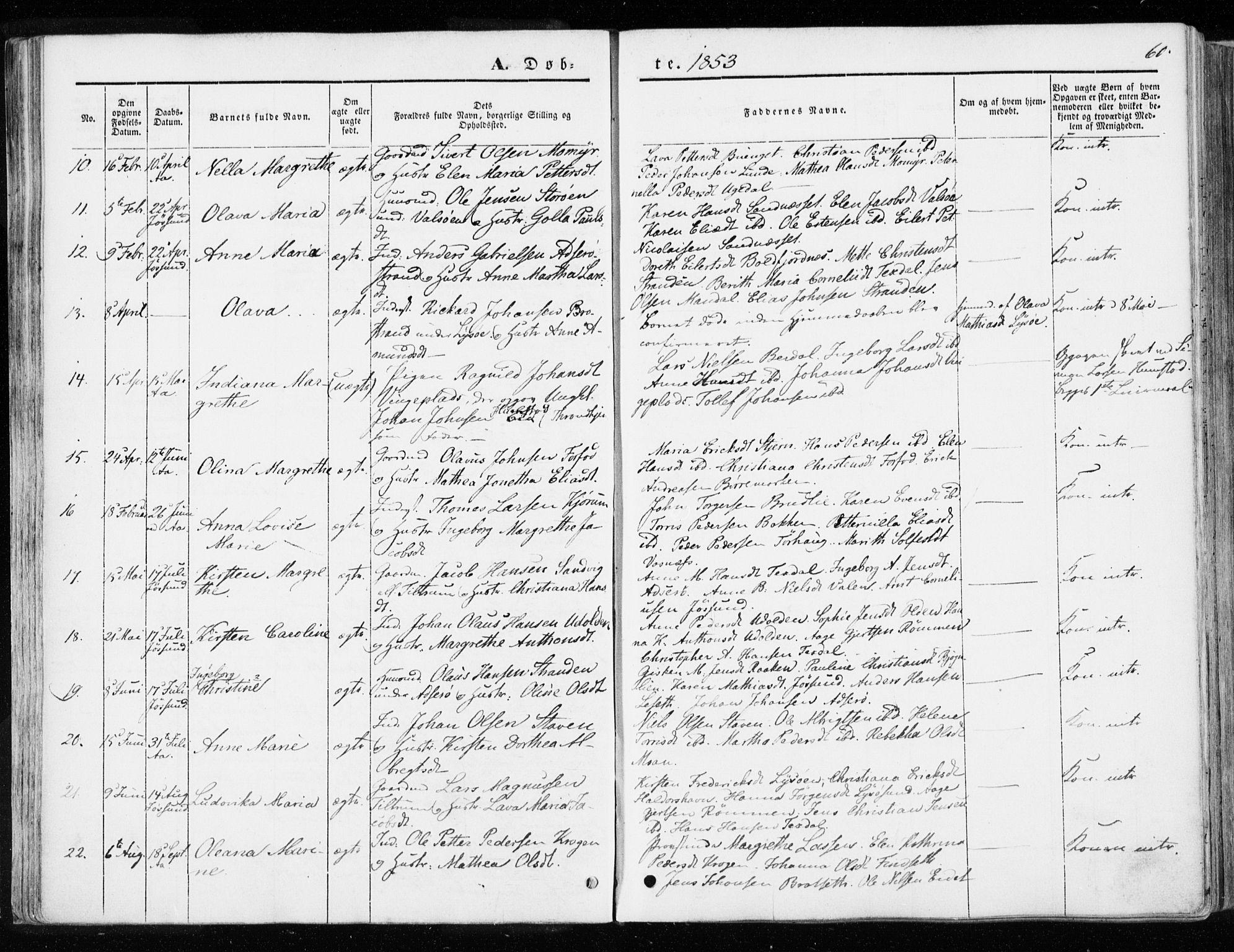 SAT, Ministerialprotokoller, klokkerbøker og fødselsregistre - Sør-Trøndelag, 655/L0677: Ministerialbok nr. 655A06, 1847-1860, s. 60