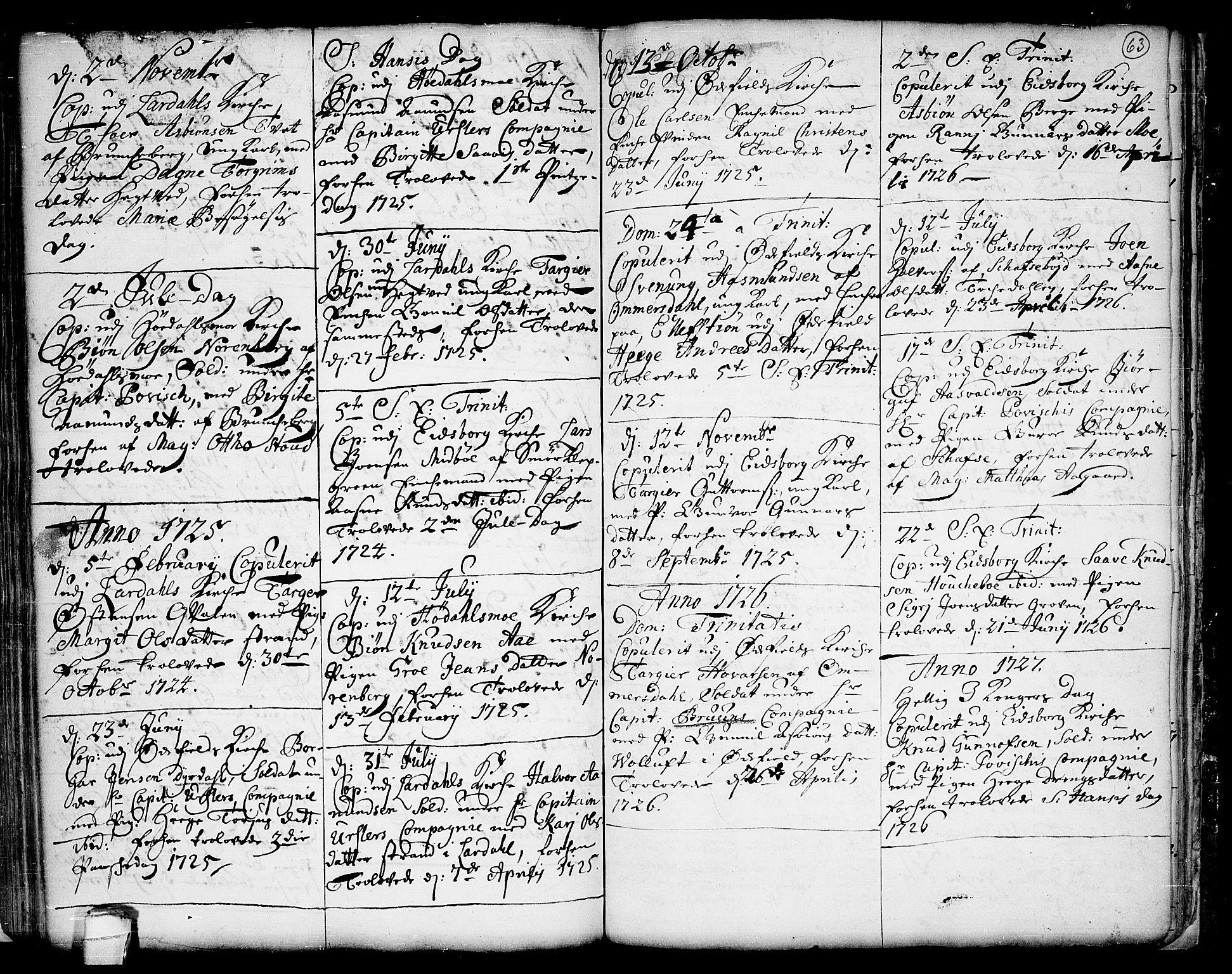 SAKO, Lårdal kirkebøker, F/Fa/L0001: Ministerialbok nr. I 1, 1721-1734, s. 63