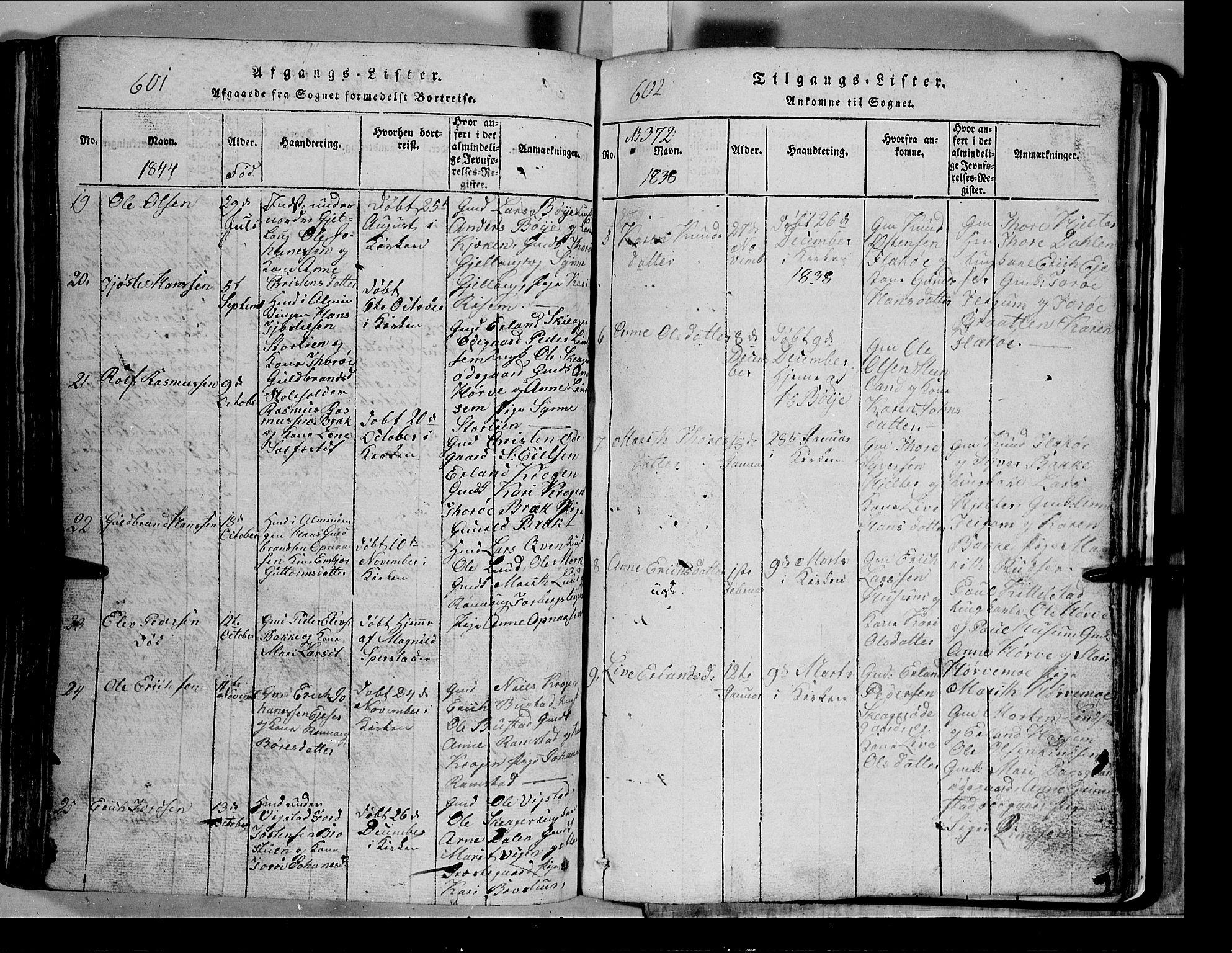 SAH, Lom prestekontor, L/L0003: Klokkerbok nr. 3, 1815-1844, s. 601-602