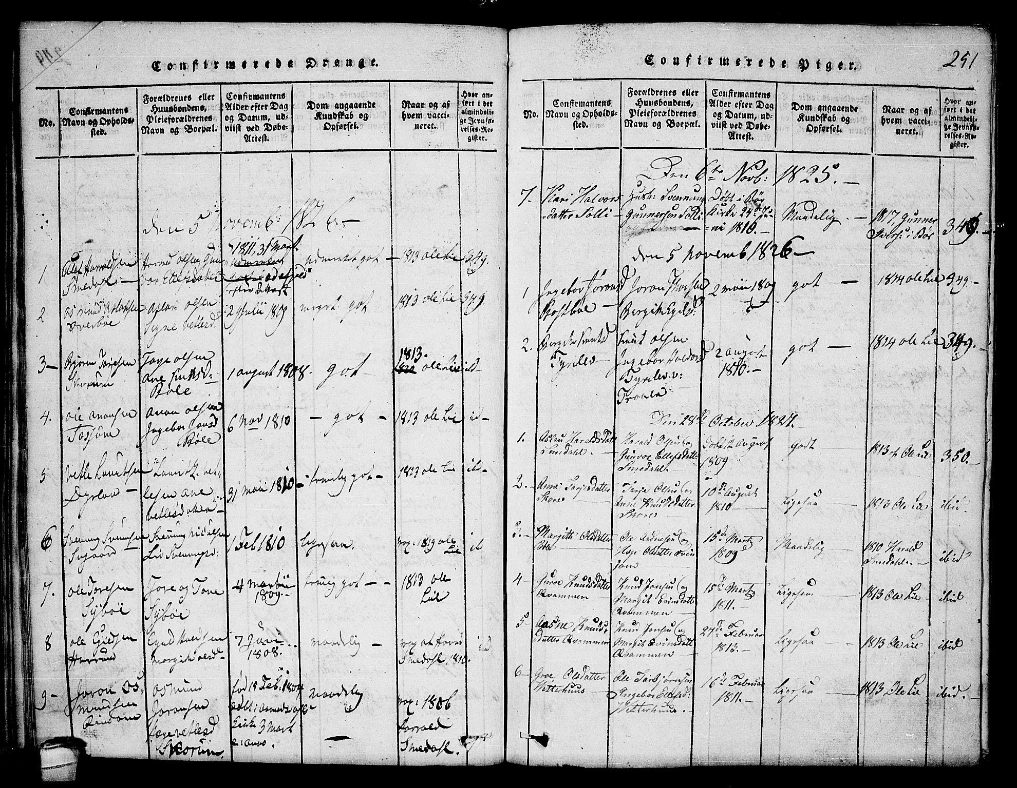 SAKO, Seljord kirkebøker, F/Fc/L0001: Ministerialbok nr. III 1, 1815-1831, s. 251