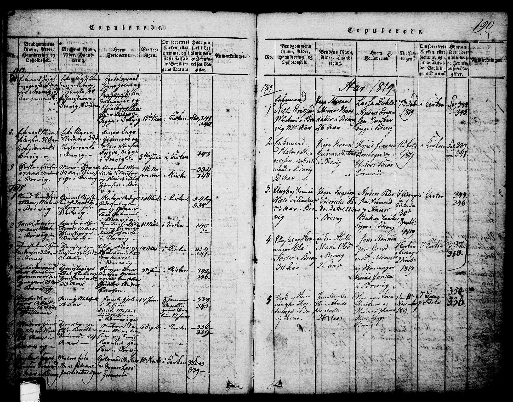 SAKO, Brevik kirkebøker, G/Ga/L0001: Klokkerbok nr. 1, 1814-1845, s. 190