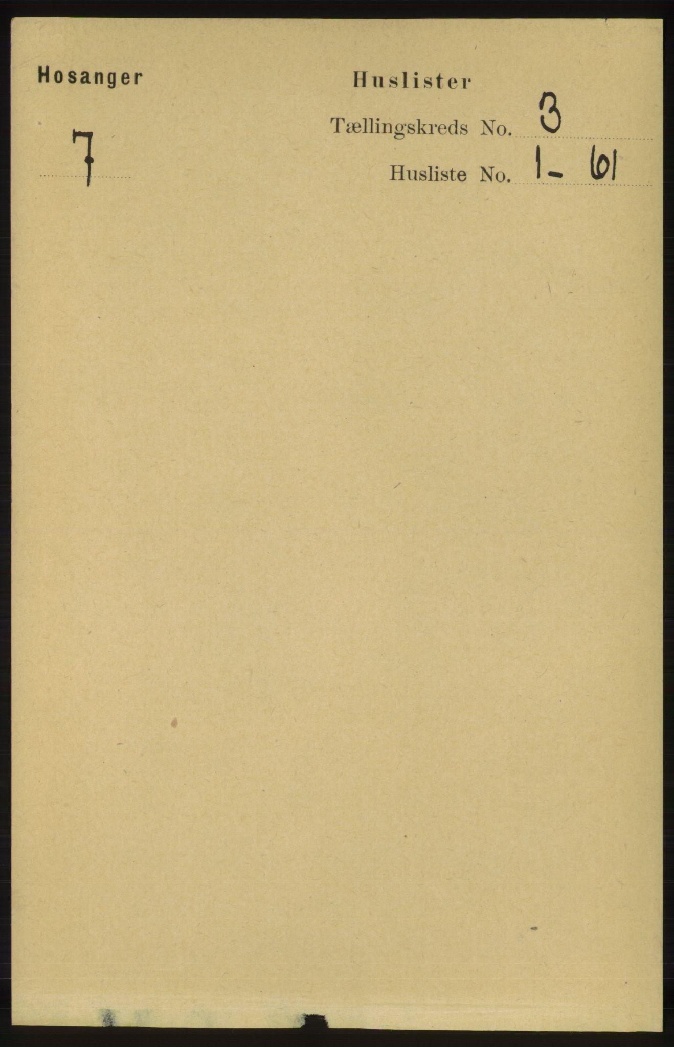 RA, Folketelling 1891 for 1253 Hosanger herred, 1891, s. 955