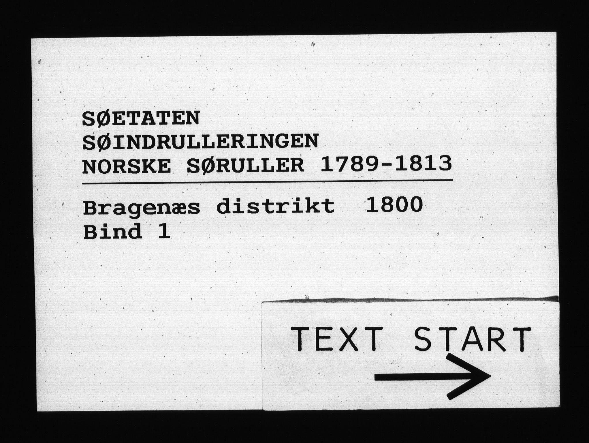 RA, Sjøetaten, F/L0128: Bragernes distrikt, bind 1, 1800