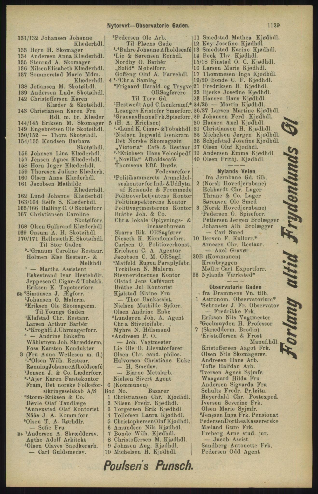 RA, Kristiania adressebok (publikasjon)*, 1904, s. 1129