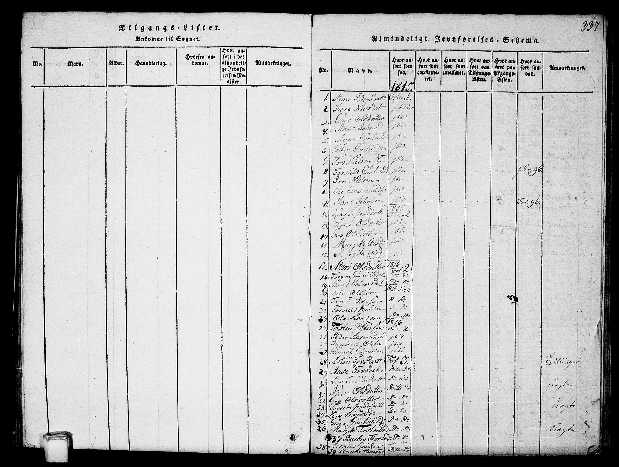 SAKO, Hjartdal kirkebøker, G/Gc/L0001: Klokkerbok nr. III 1, 1815-1842, s. 337