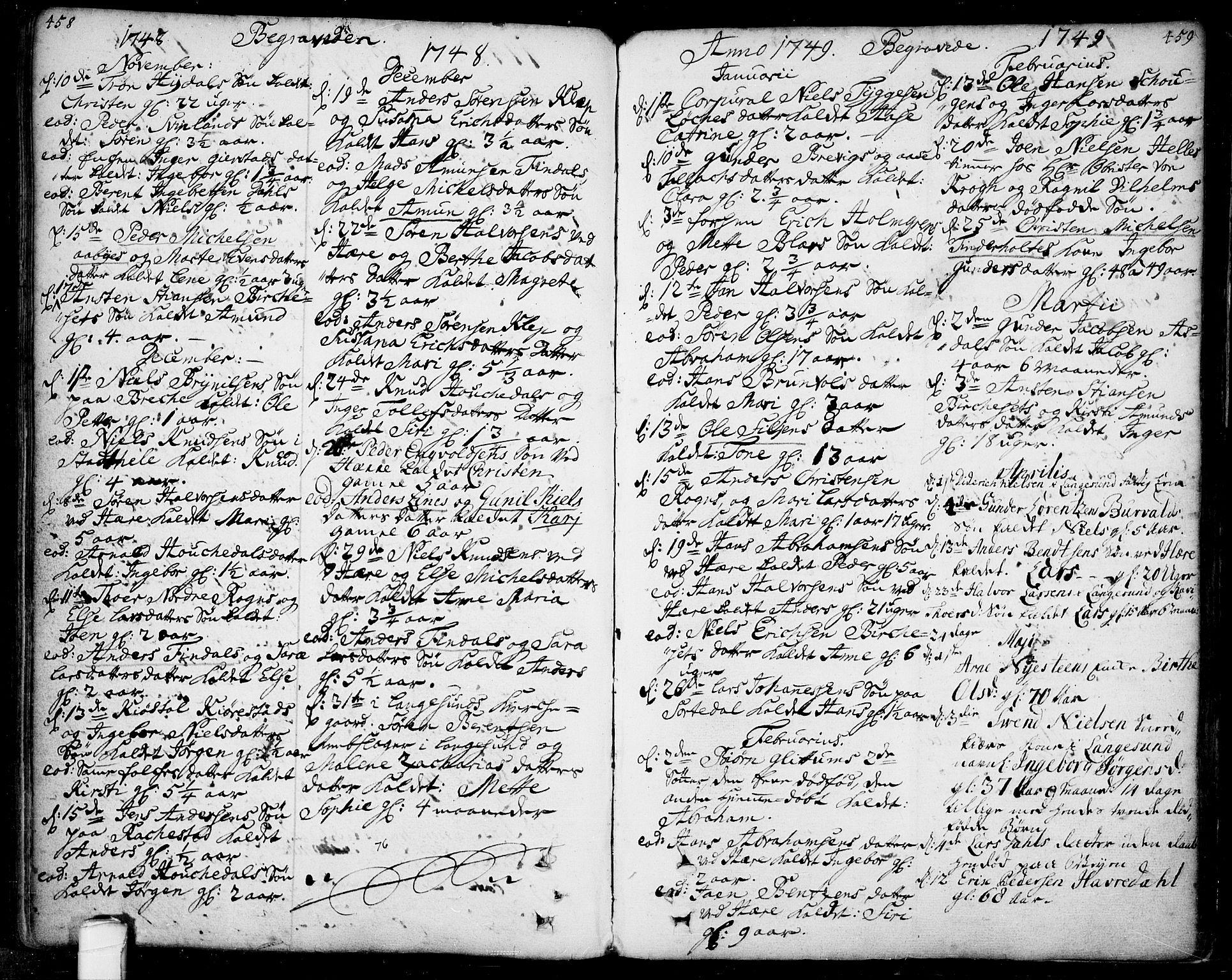 SAKO, Bamble kirkebøker, F/Fa/L0001: Ministerialbok nr. I 1, 1702-1774, s. 458-459