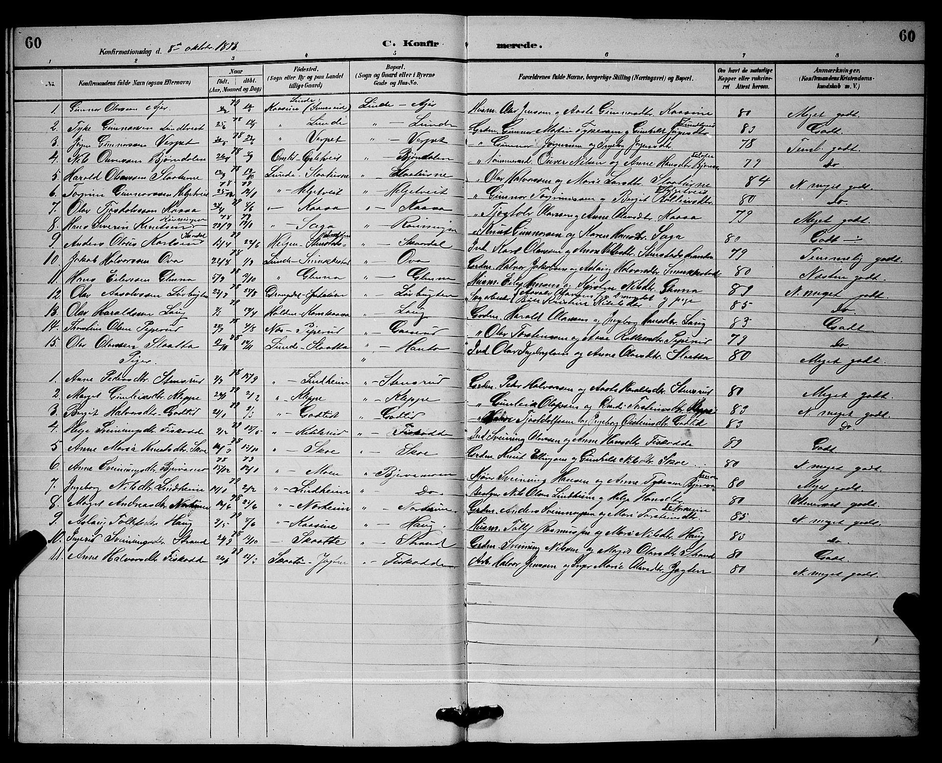 SAKO, Lunde kirkebøker, G/Ga/L0002: Klokkerbok nr. I 2, 1887-1896, s. 60