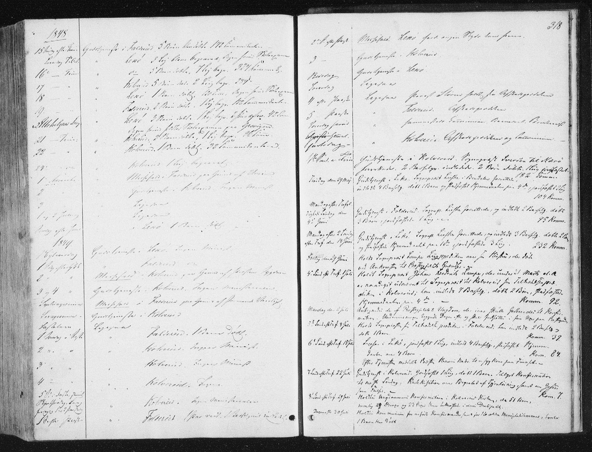 SAT, Ministerialprotokoller, klokkerbøker og fødselsregistre - Nord-Trøndelag, 780/L0640: Ministerialbok nr. 780A05, 1845-1856, s. 318