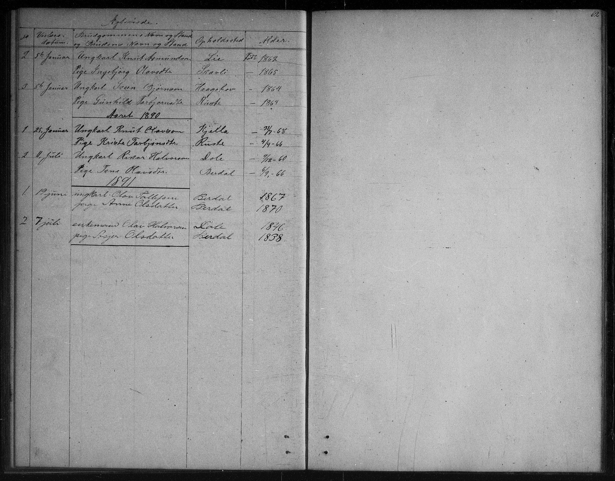 SAKO, Vinje kirkebøker, G/Gb/L0002: Klokkerbok nr. II 2, 1849-1891, s. 62