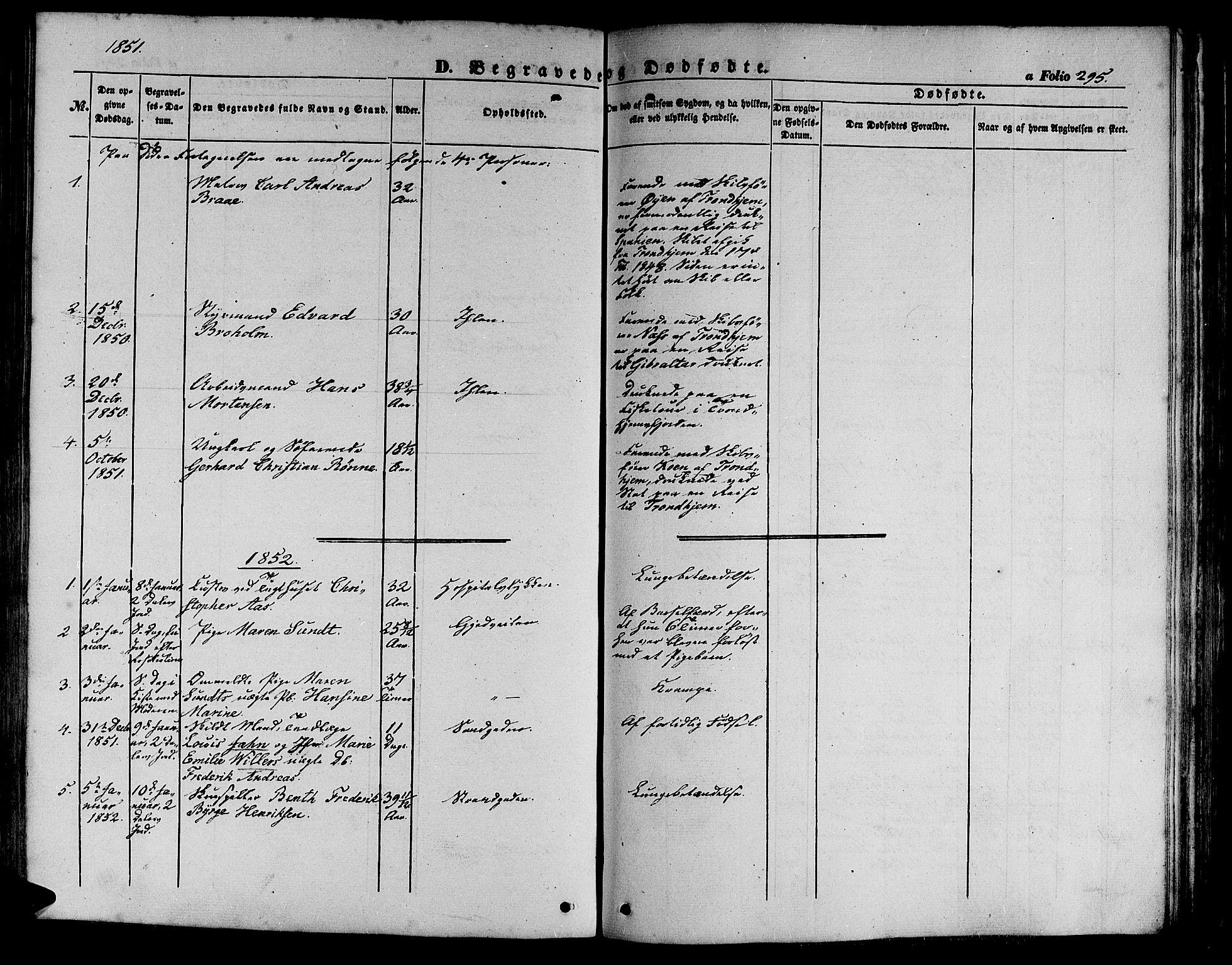 SAT, Ministerialprotokoller, klokkerbøker og fødselsregistre - Sør-Trøndelag, 602/L0137: Klokkerbok nr. 602C05, 1846-1856, s. 295