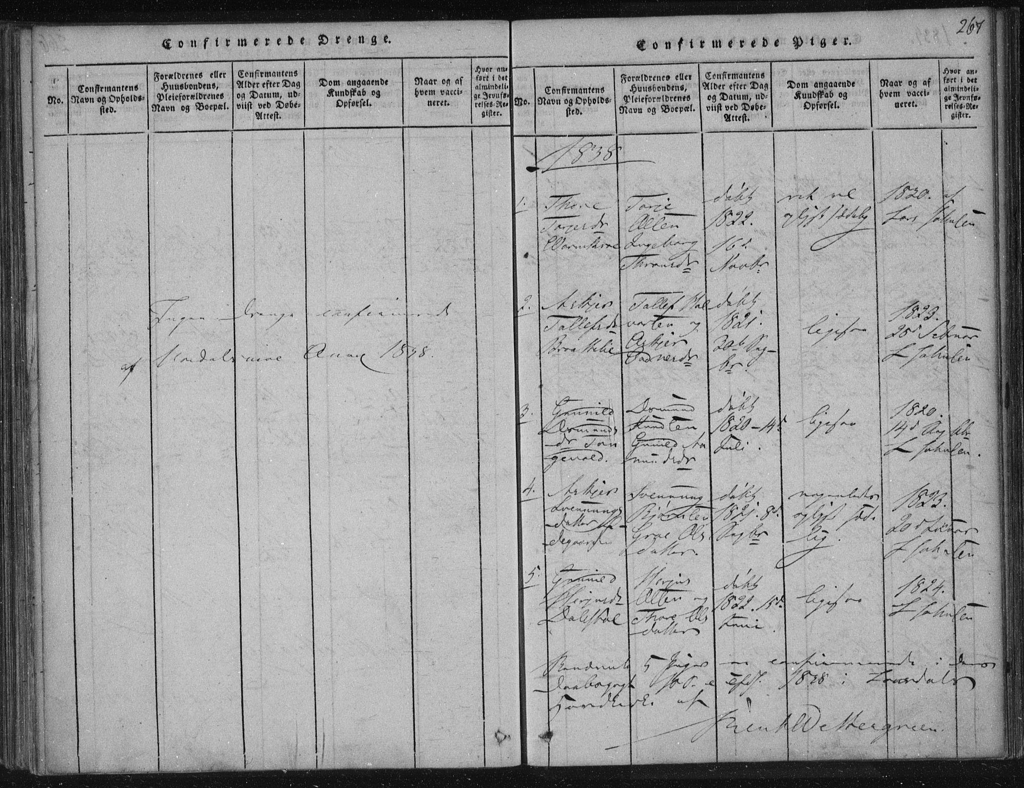 SAKO, Lårdal kirkebøker, F/Fc/L0001: Ministerialbok nr. III 1, 1815-1860, s. 267