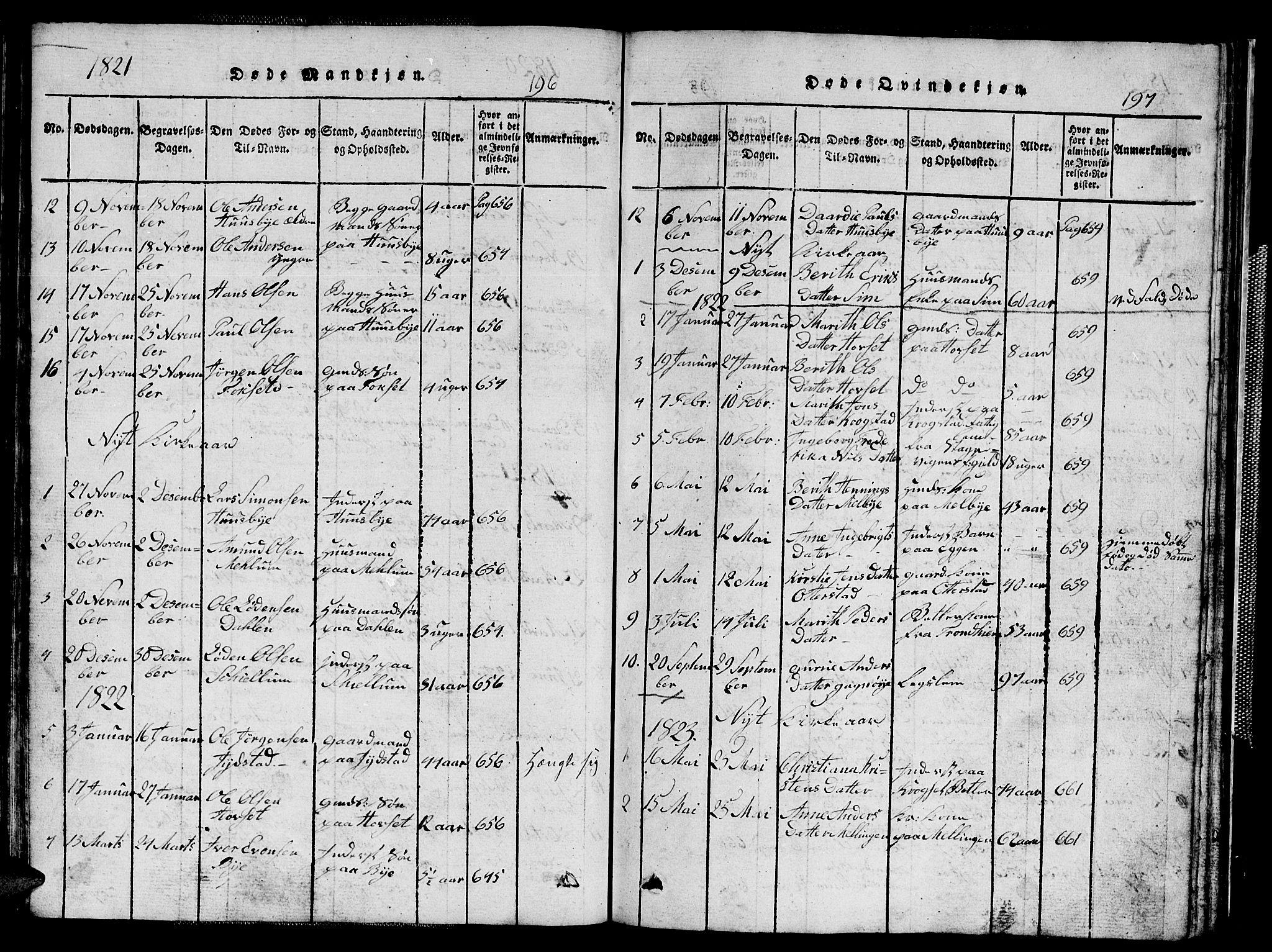 SAT, Ministerialprotokoller, klokkerbøker og fødselsregistre - Sør-Trøndelag, 667/L0796: Klokkerbok nr. 667C01, 1817-1836, s. 196-197