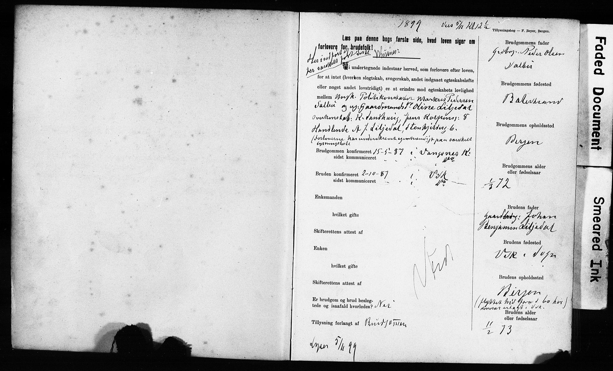 SAB, Domkirken Sokneprestembete, Forlovererklæringer nr. II.5.11, 1899-1910, s. 3