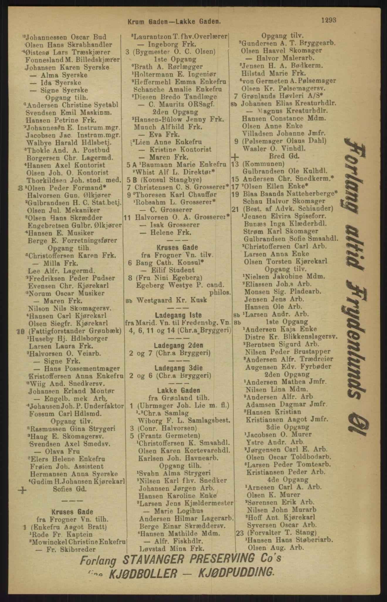 RA, Kristiania adressebok (publikasjon)*, 1911, s. 1293