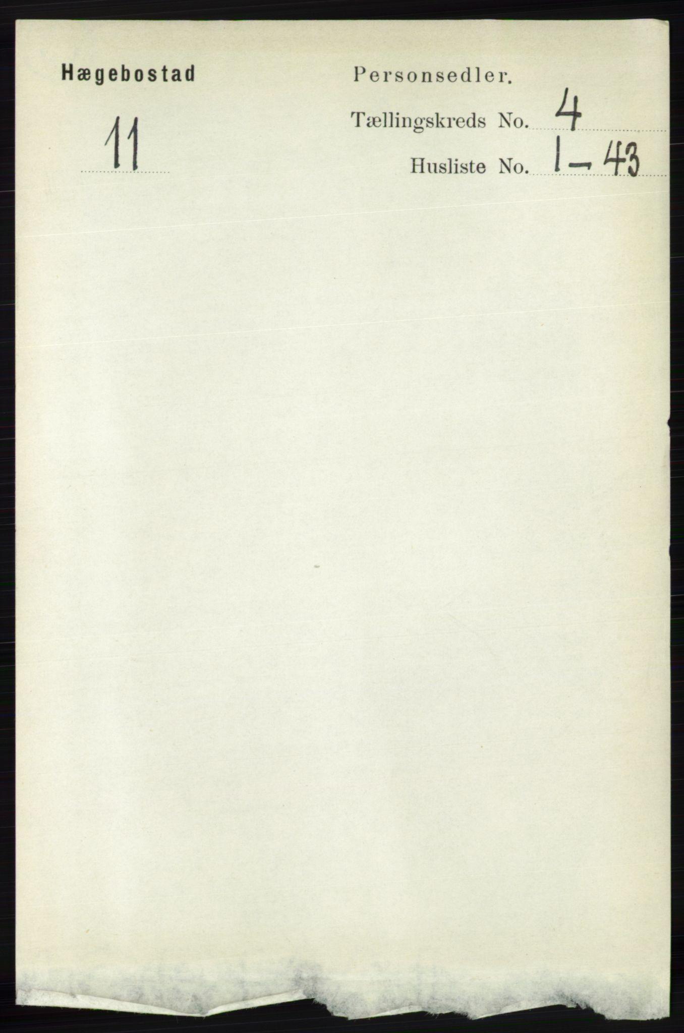 RA, Folketelling 1891 for 1034 Hægebostad herred, 1891, s. 1189