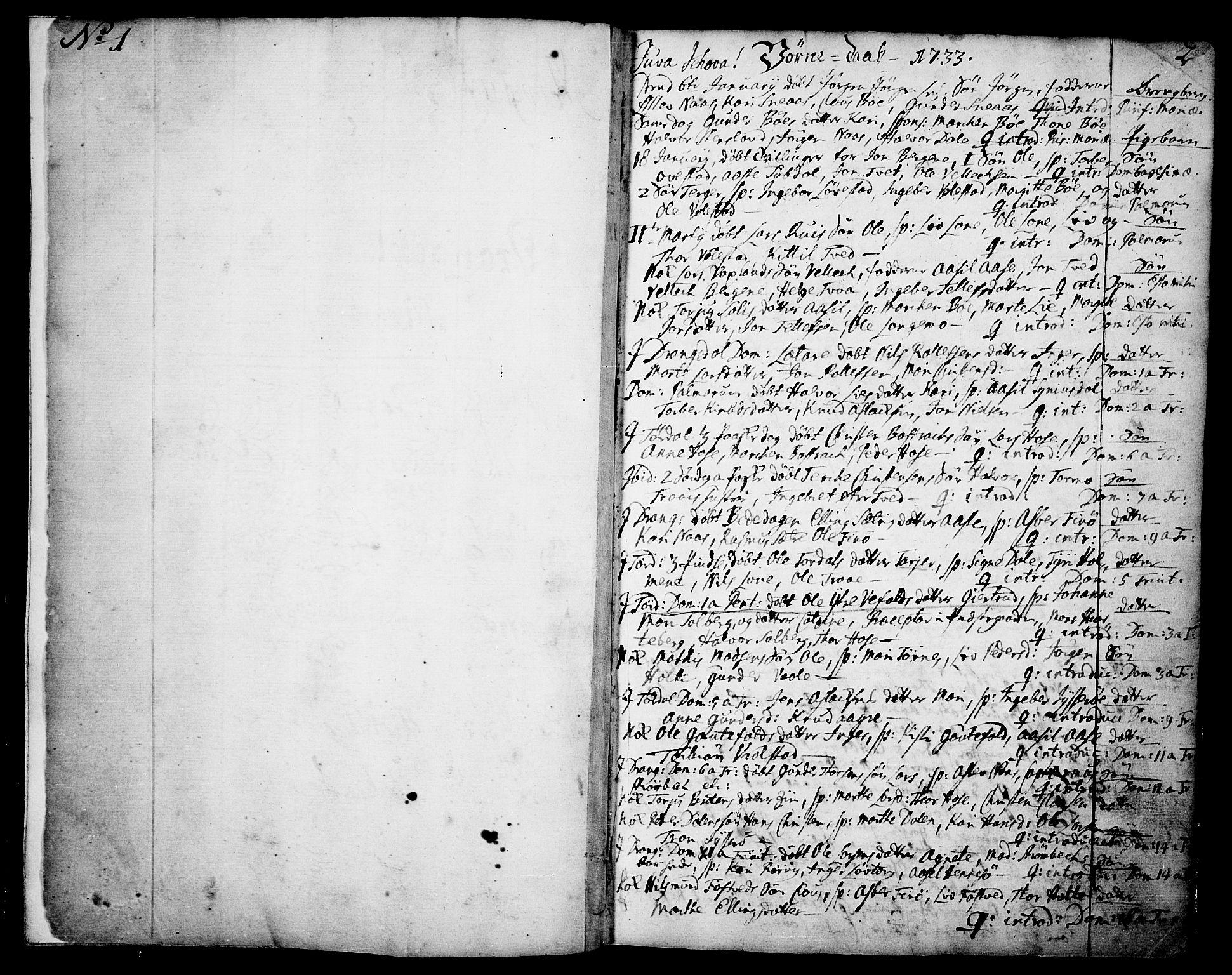 SAKO, Drangedal kirkebøker, F/Fa/L0002: Ministerialbok nr. 2, 1733-1753, s. 1-2