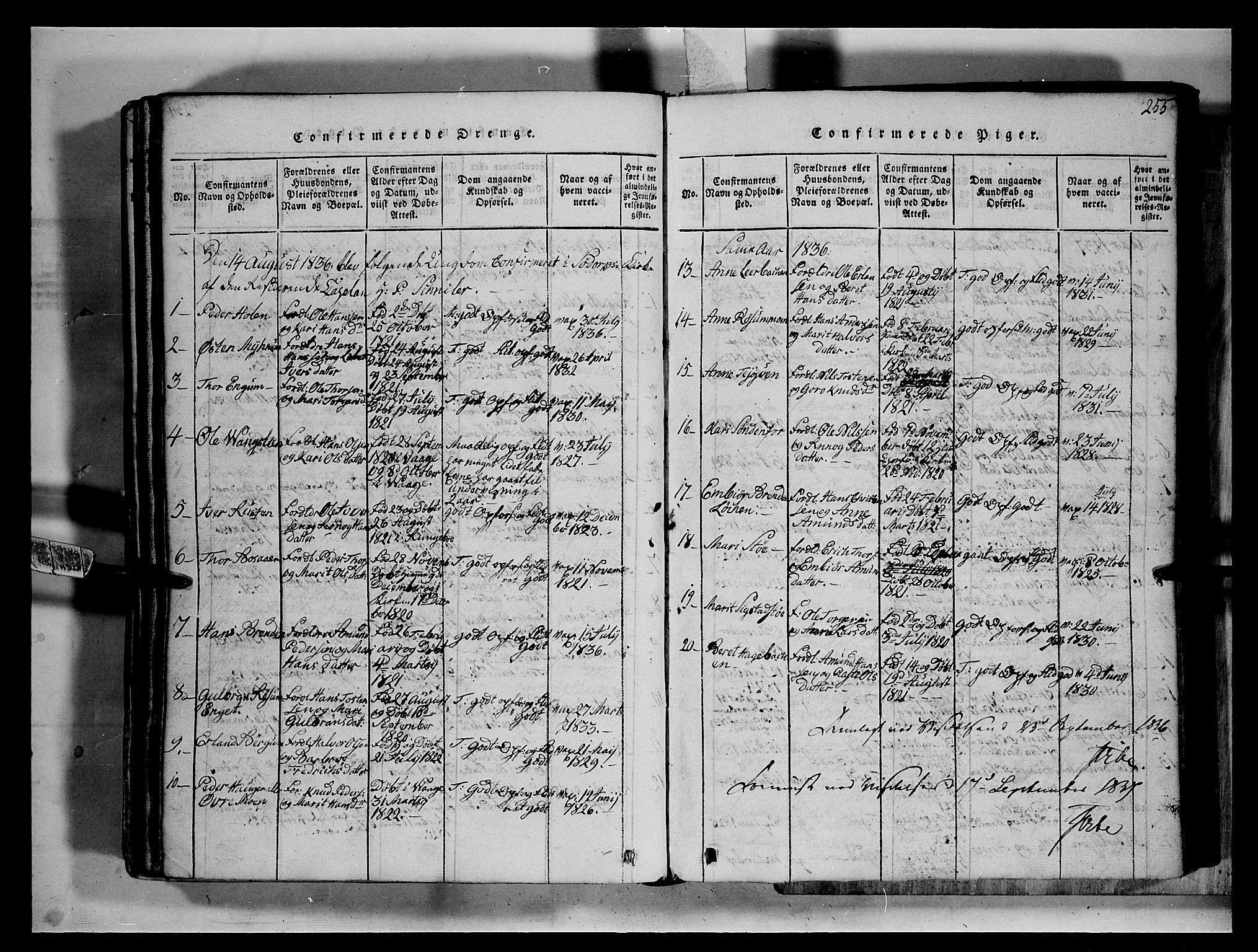 SAH, Fron prestekontor, H/Ha/Hab/L0002: Klokkerbok nr. 2, 1816-1850, s. 255