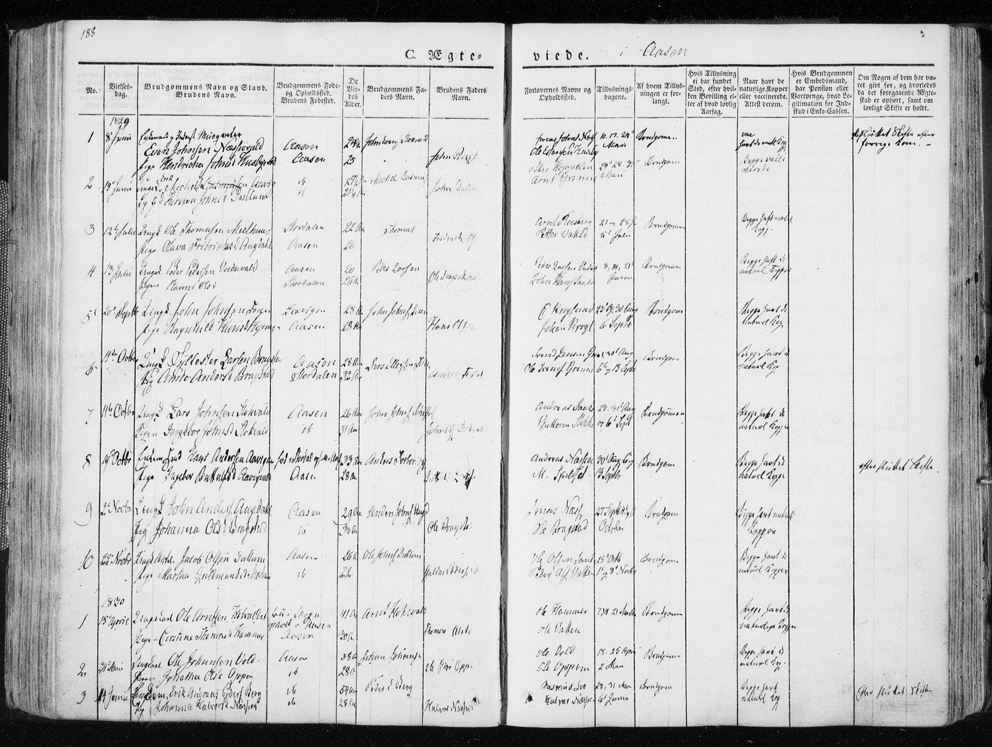 SAT, Ministerialprotokoller, klokkerbøker og fødselsregistre - Nord-Trøndelag, 713/L0114: Ministerialbok nr. 713A05, 1827-1839, s. 188