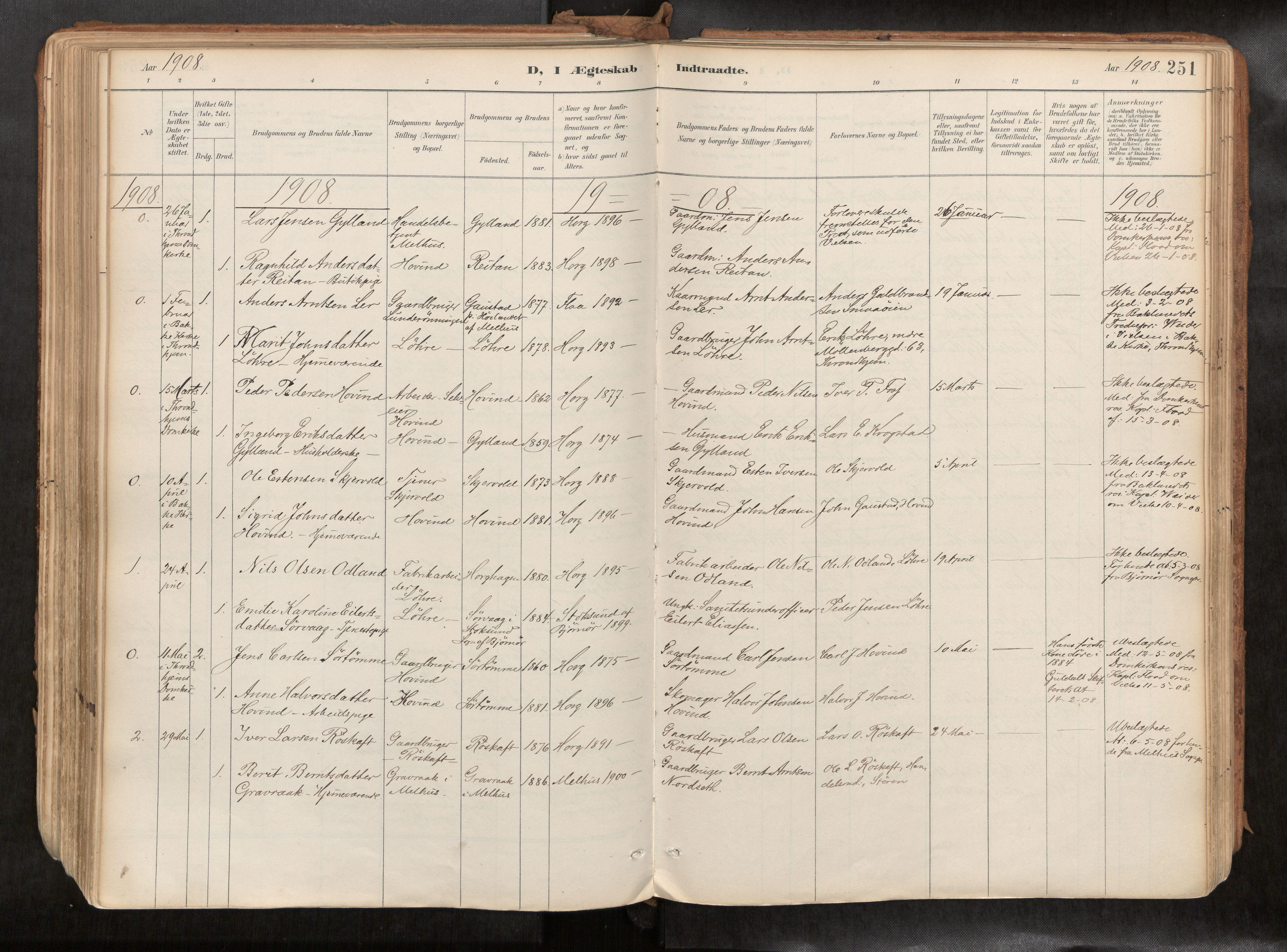 SAT, Ministerialprotokoller, klokkerbøker og fødselsregistre - Sør-Trøndelag, 692/L1105b: Ministerialbok nr. 692A06, 1891-1934, s. 251