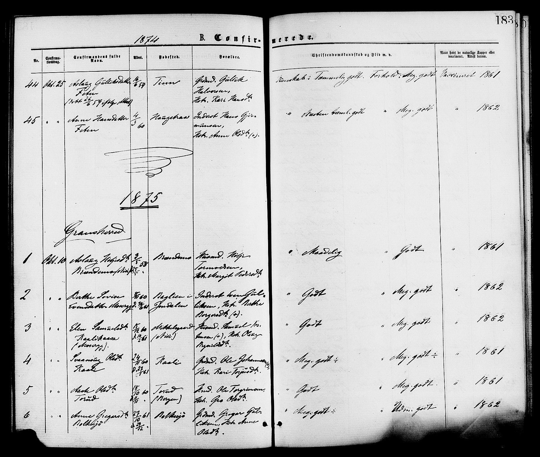 SAKO, Gransherad kirkebøker, F/Fa/L0004: Ministerialbok nr. I 4, 1871-1886, s. 183
