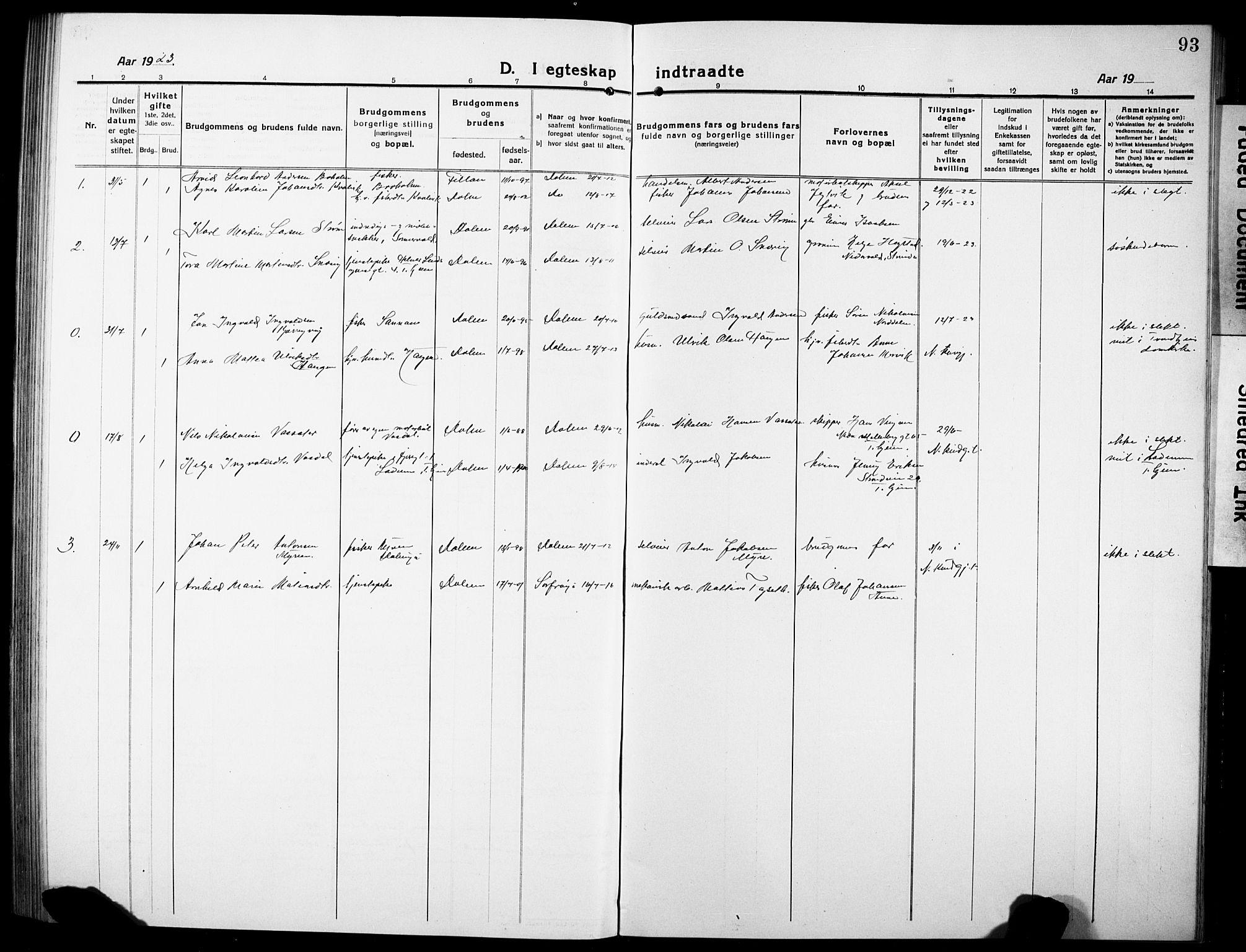 SAT, Ministerialprotokoller, klokkerbøker og fødselsregistre - Sør-Trøndelag, 634/L0543: Klokkerbok nr. 634C05, 1917-1928, s. 93
