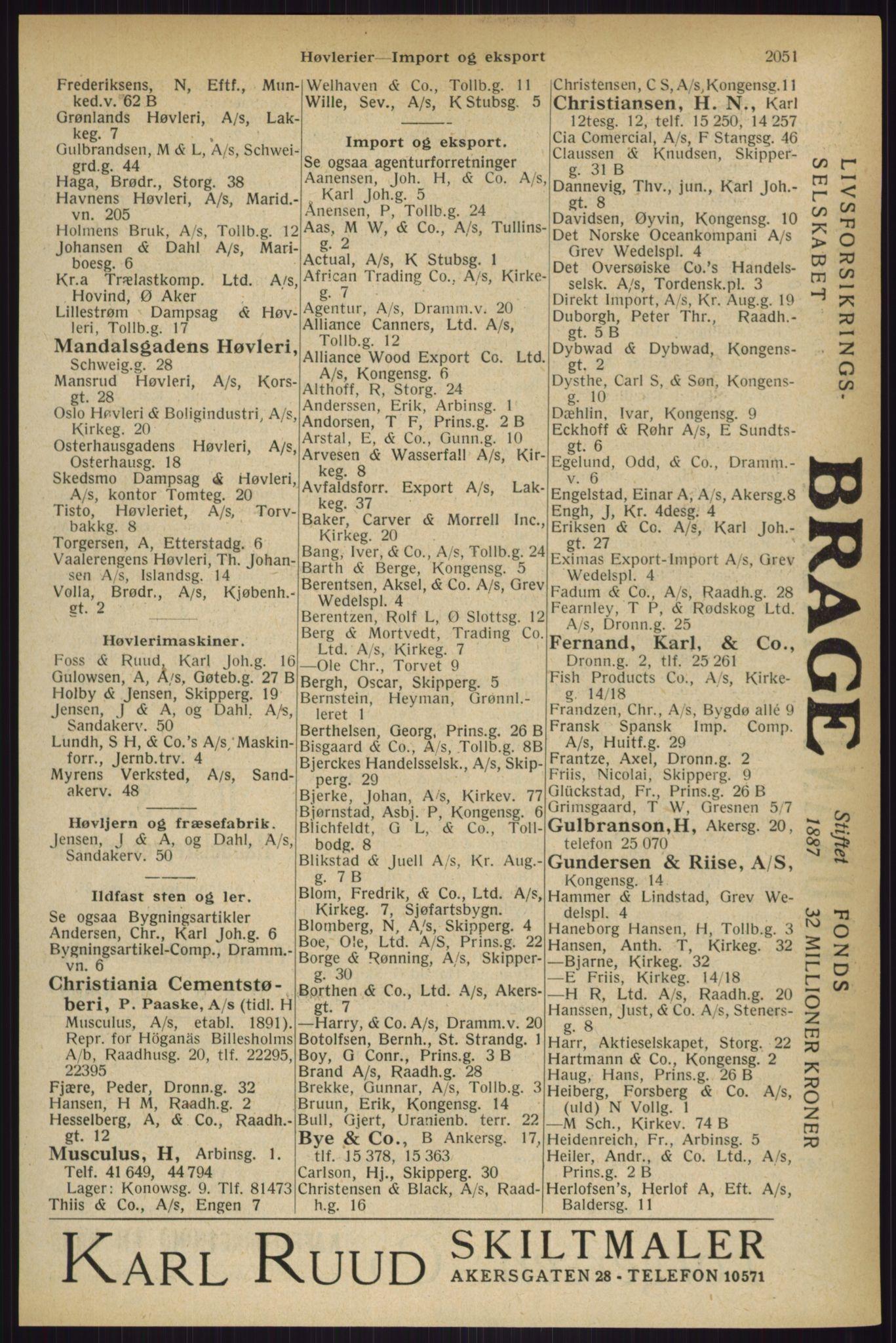 RA, Oslo adressebok (publikasjon)*, 1927, s. 2051