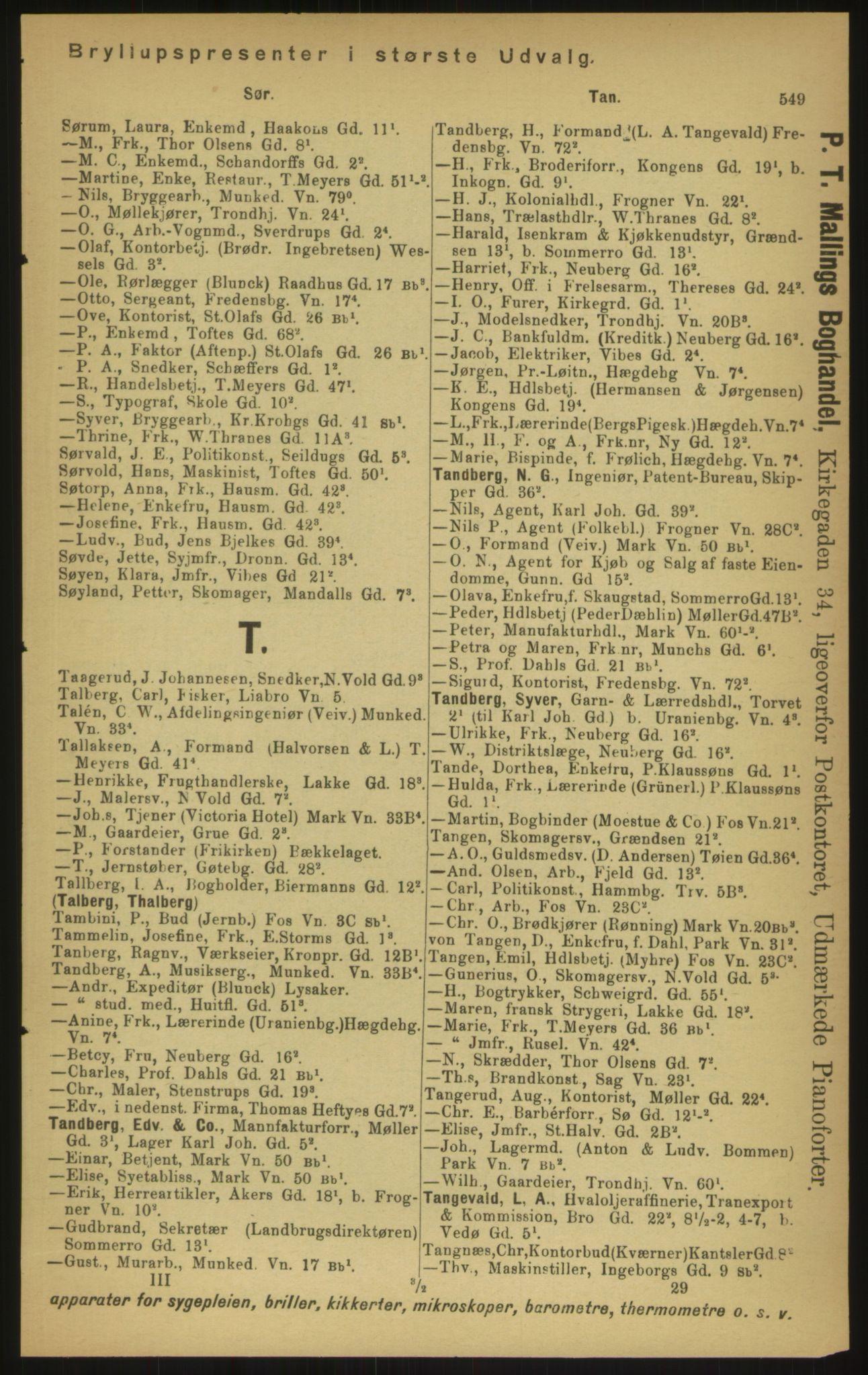 PUBL, Kristiania/Oslo adressebok, 1897, s. 549
