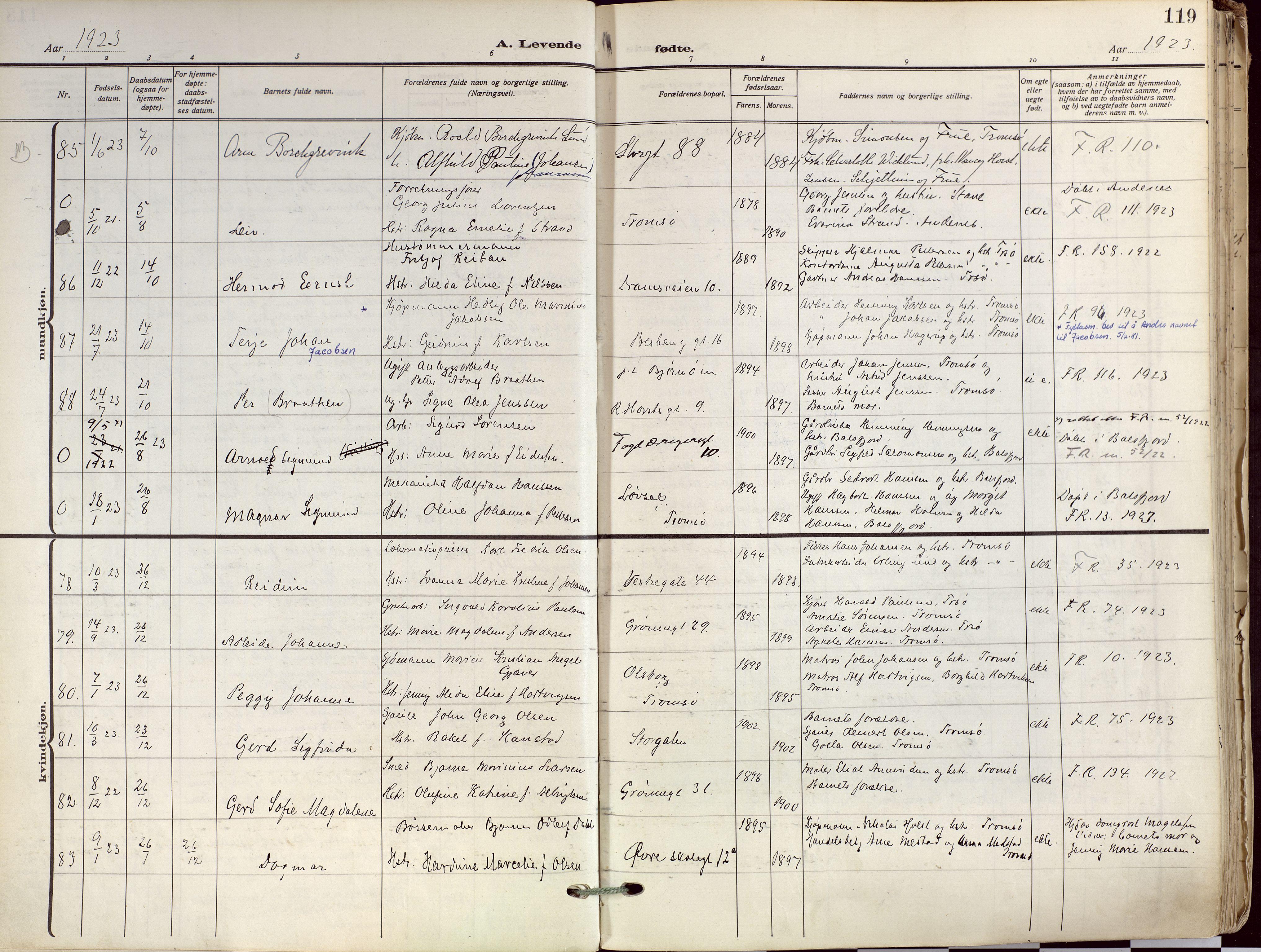 SATØ, Tromsø sokneprestkontor/stiftsprosti/domprosti, G/Ga/L0019kirke: Ministerialbok nr. 19, 1917-1927, s. 119