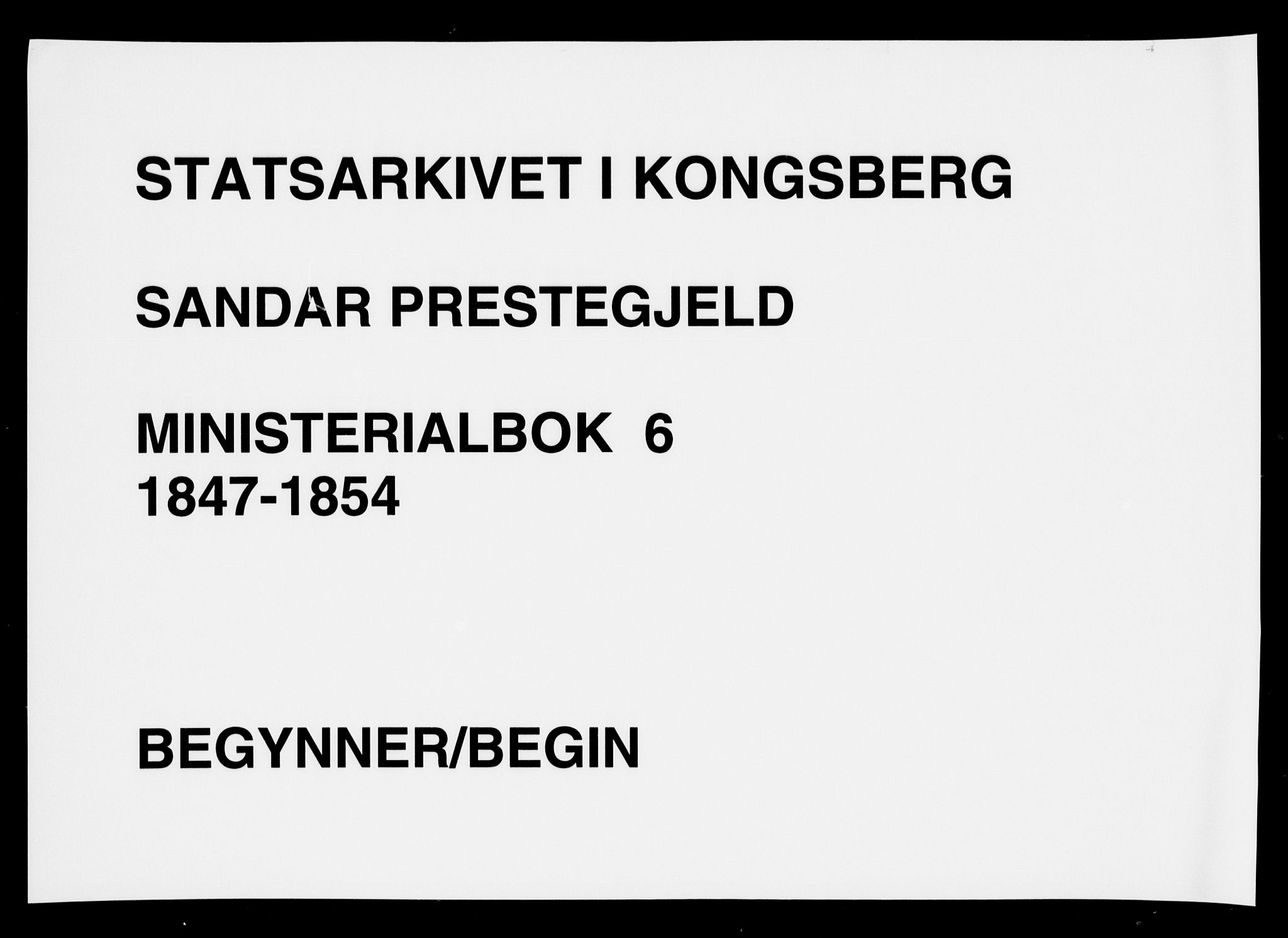 SAKO, Sandar kirkebøker, F/Fa/L0006: Ministerialbok nr. 6, 1847-1860