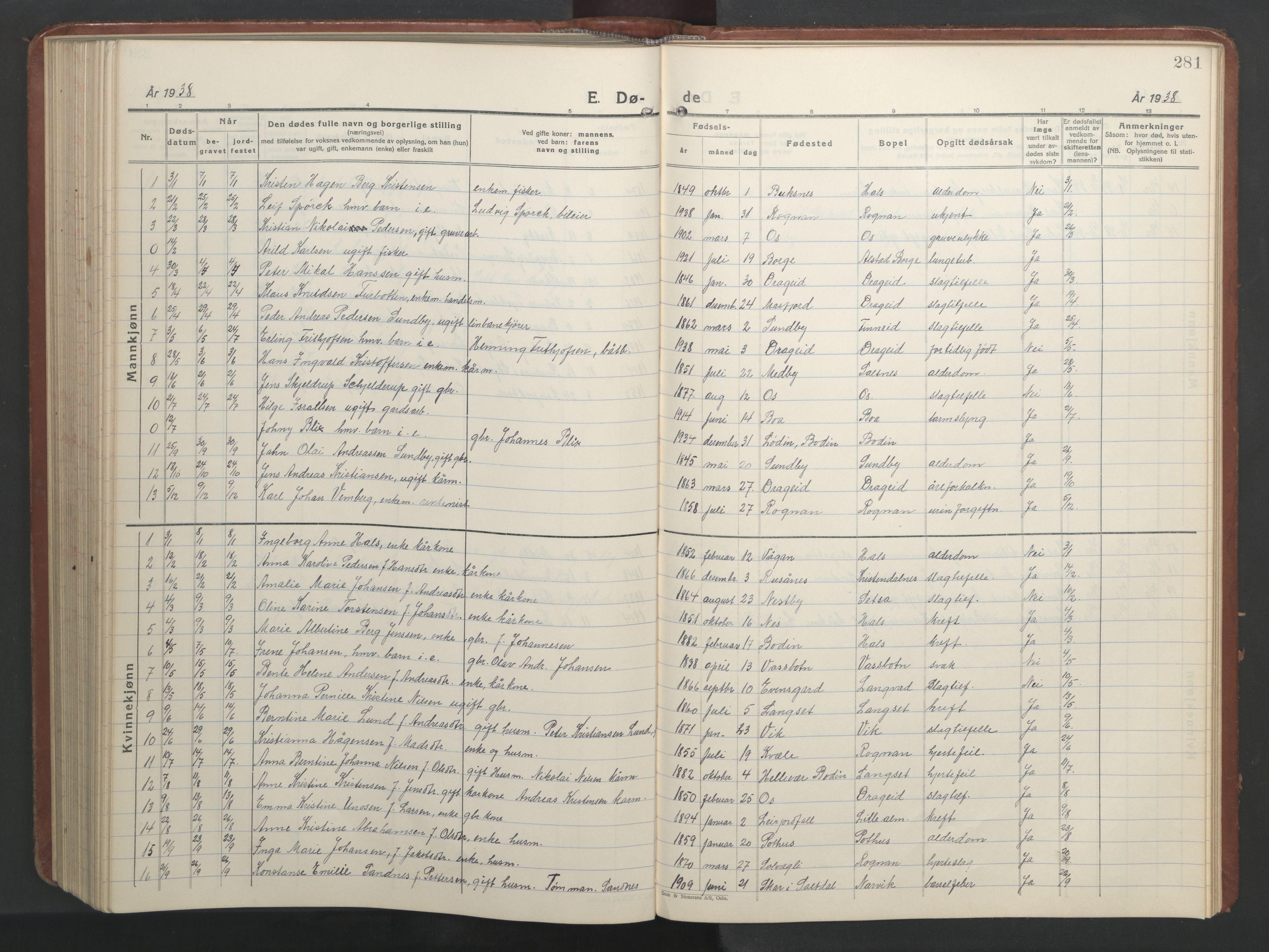 SAT, Ministerialprotokoller, klokkerbøker og fødselsregistre - Nordland, 847/L0680: Klokkerbok nr. 847C08, 1930-1947, s. 281