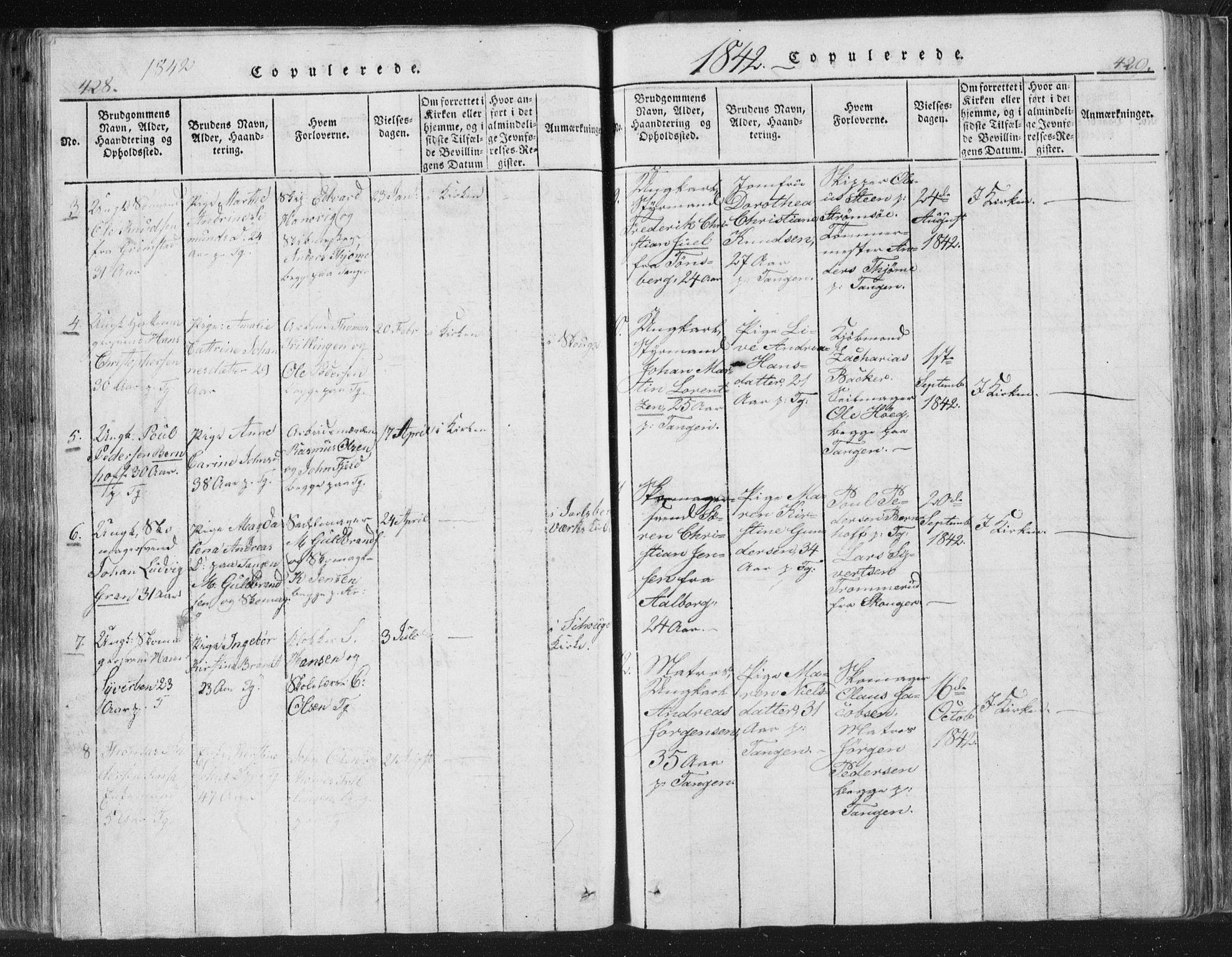SAKO, Strømsø kirkebøker, F/Fb/L0004: Ministerialbok nr. II 4, 1814-1843, s. 428-429