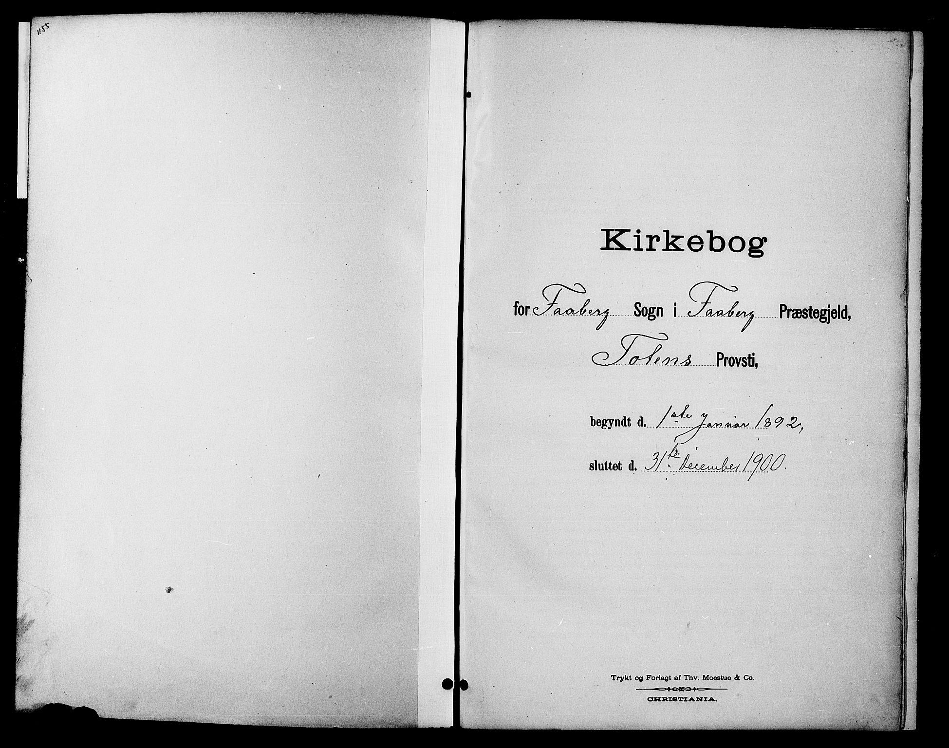 SAH, Fåberg prestekontor, Klokkerbok nr. 10, 1892-1900