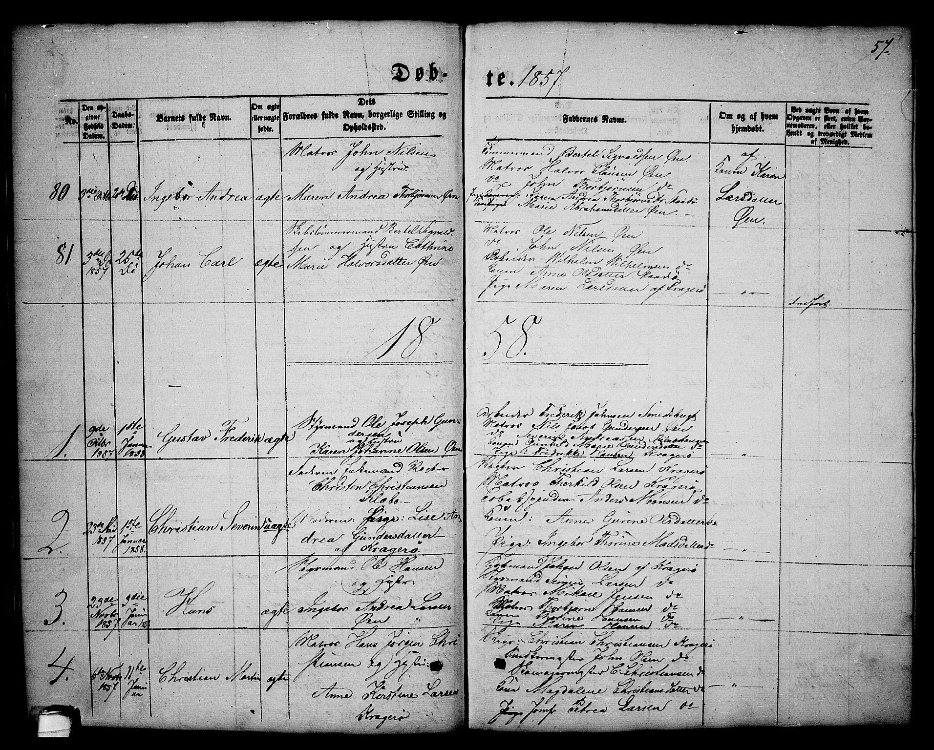 SAKO, Kragerø kirkebøker, G/Ga/L0004: Klokkerbok nr. 4, 1853-1865, s. 57
