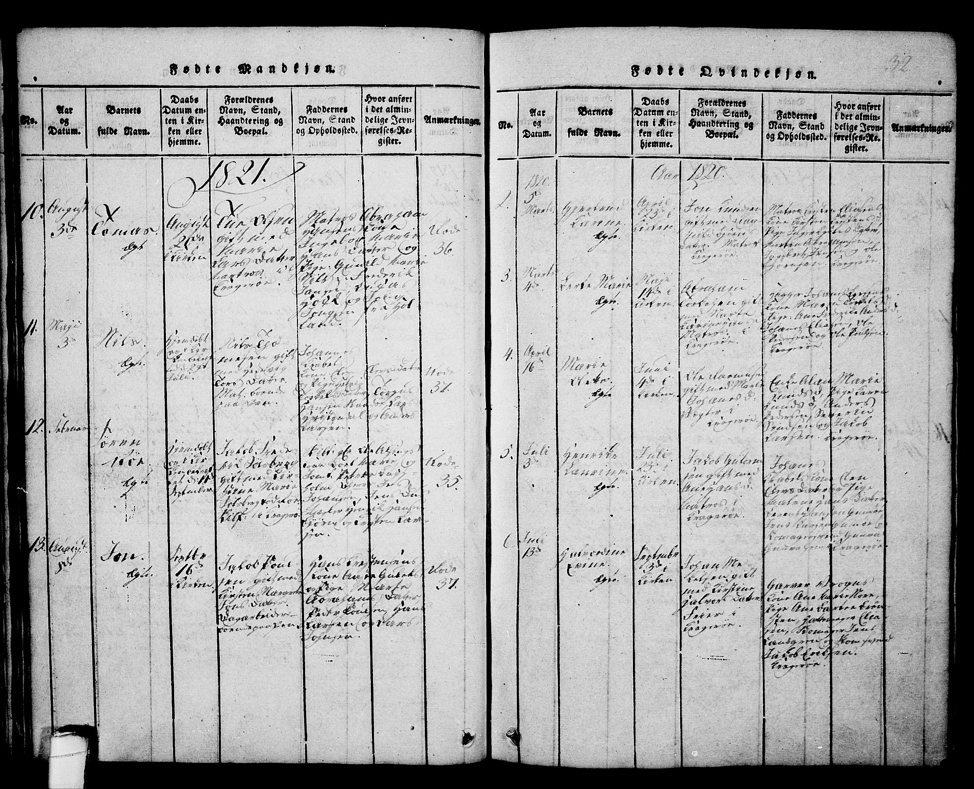SAKO, Kragerø kirkebøker, G/Ga/L0002: Klokkerbok nr. 2, 1814-1831, s. 32